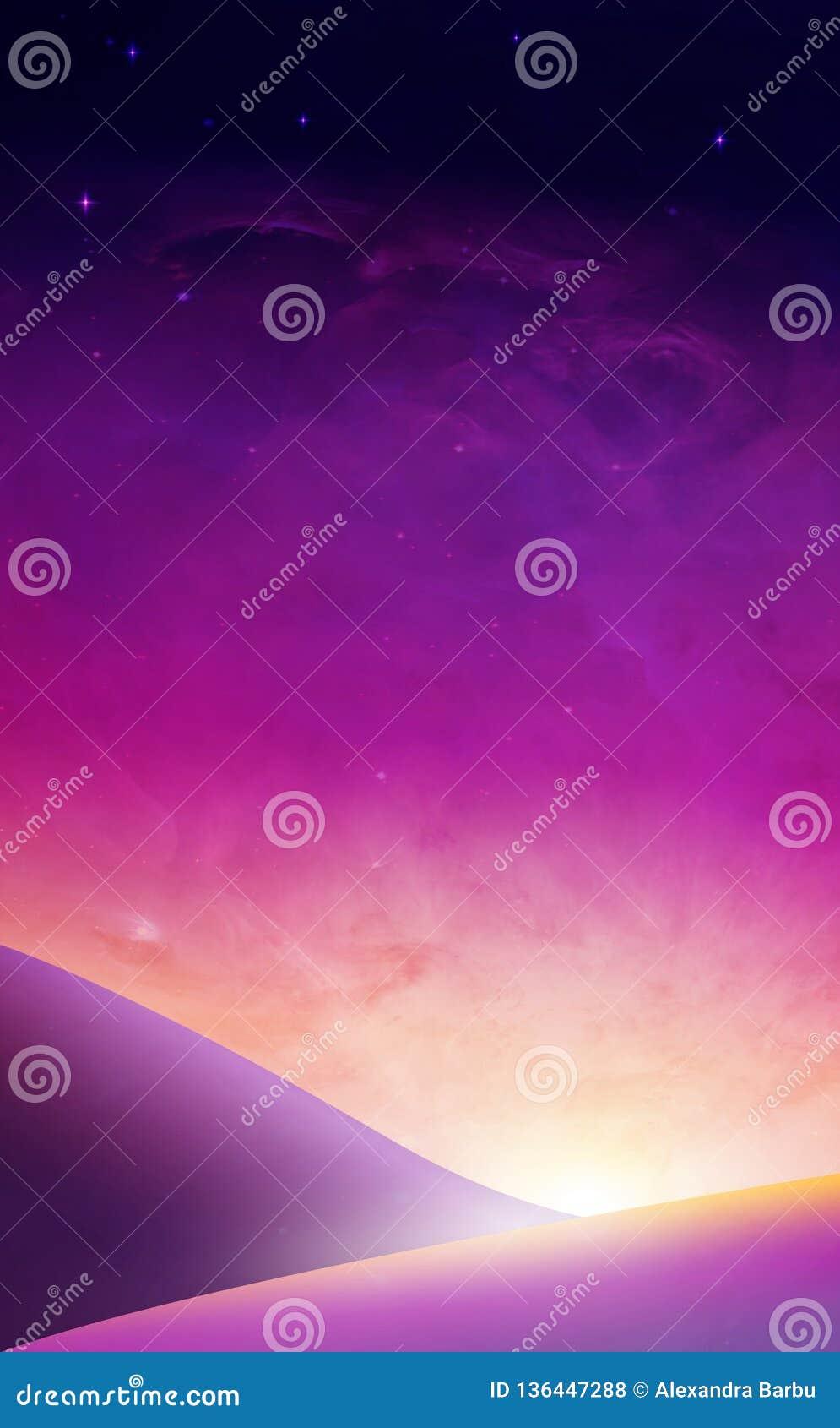 Πορφυρό ηλιοβασίλεμα ουρανού, υπερφυσική ταπετσαρία ανατολής