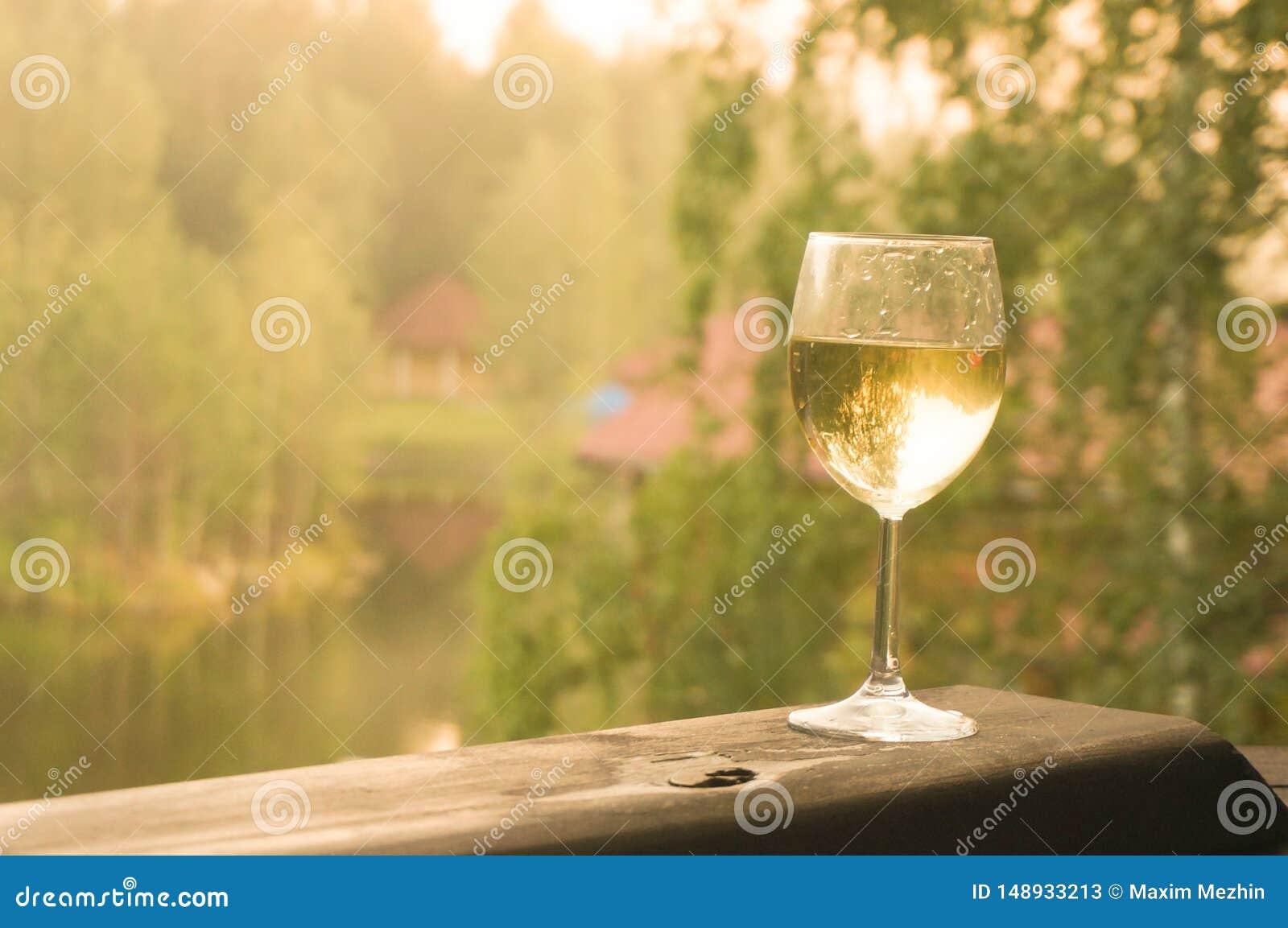 Ποτήρι του άσπρου κρασιού σε ένα πράσινο υπόβαθρο του δάσους