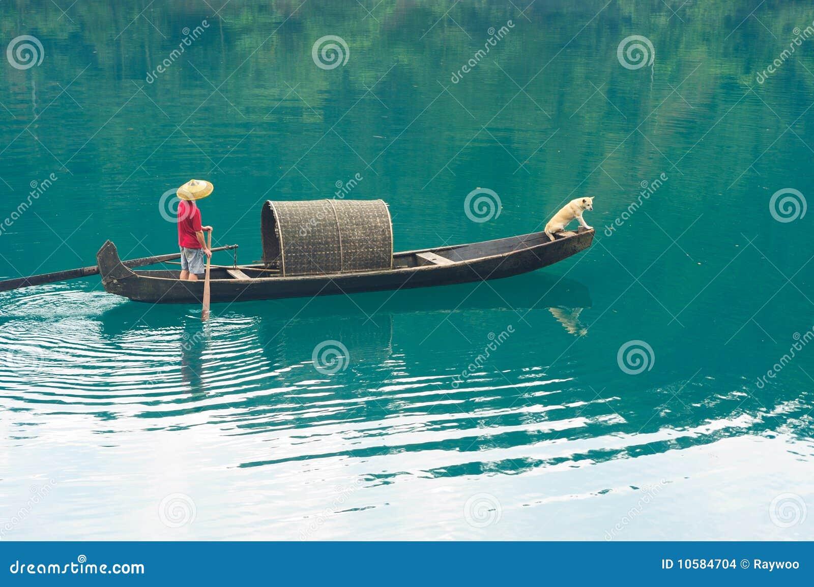 ποταμός αλιείας βαρκών