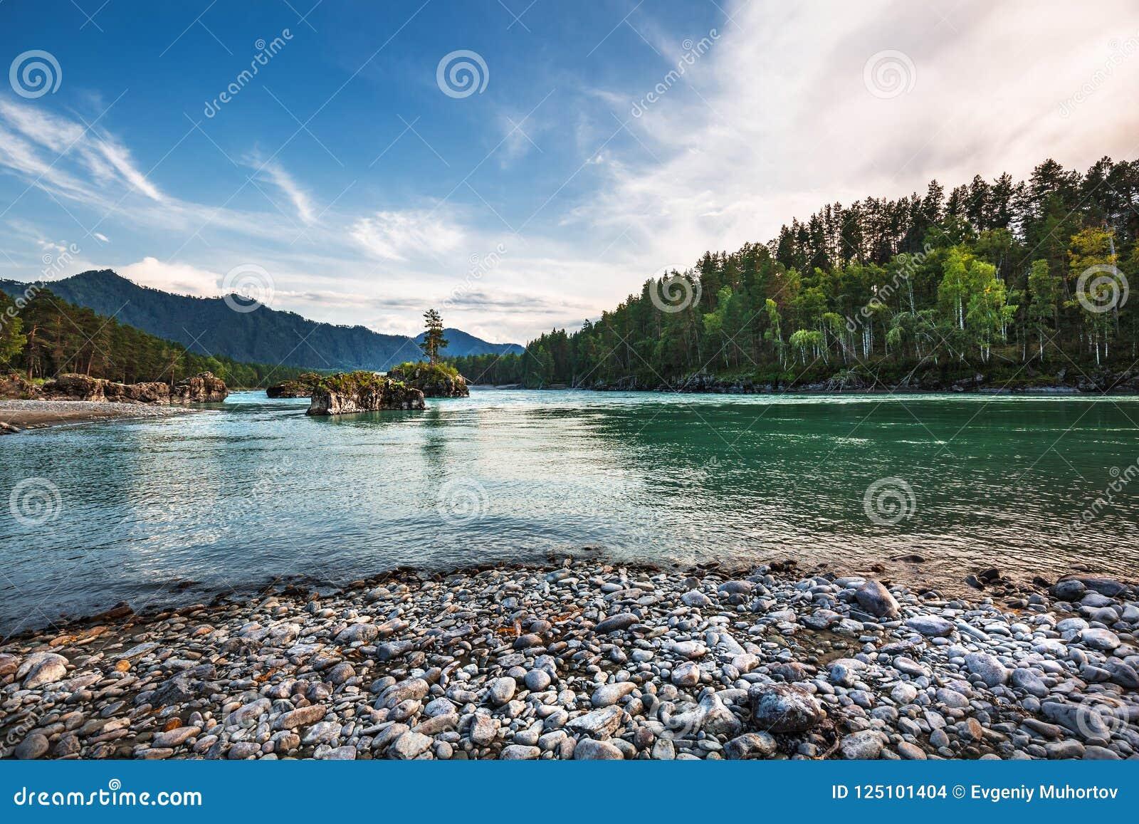 ποταμός Αυγούστου altai του 2006 katun Βουνό Altai, νότια Σιβηρία, Ρωσία