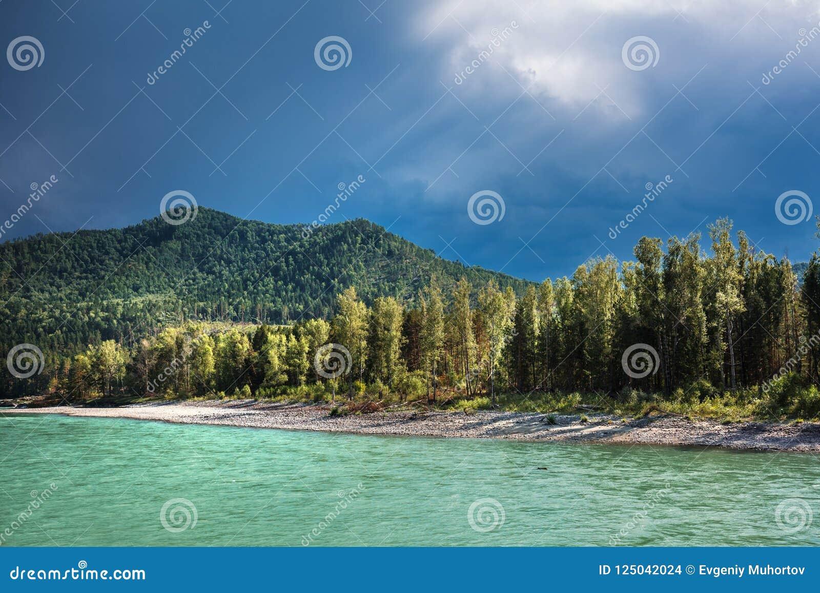ποταμός Αυγούστου altai του 2006 katun Τοπίο ποταμών του Altai