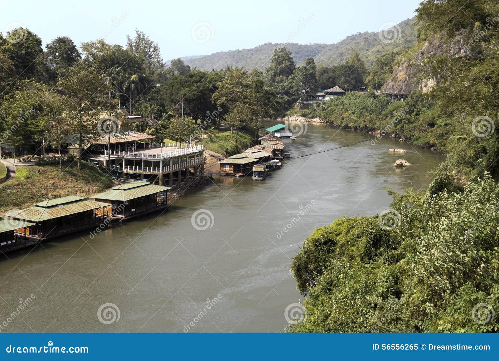 Download Ποταμός Kwai στην Ταϊλάνδη στοκ εικόνα. εικόνα από τοπίο - 56556265