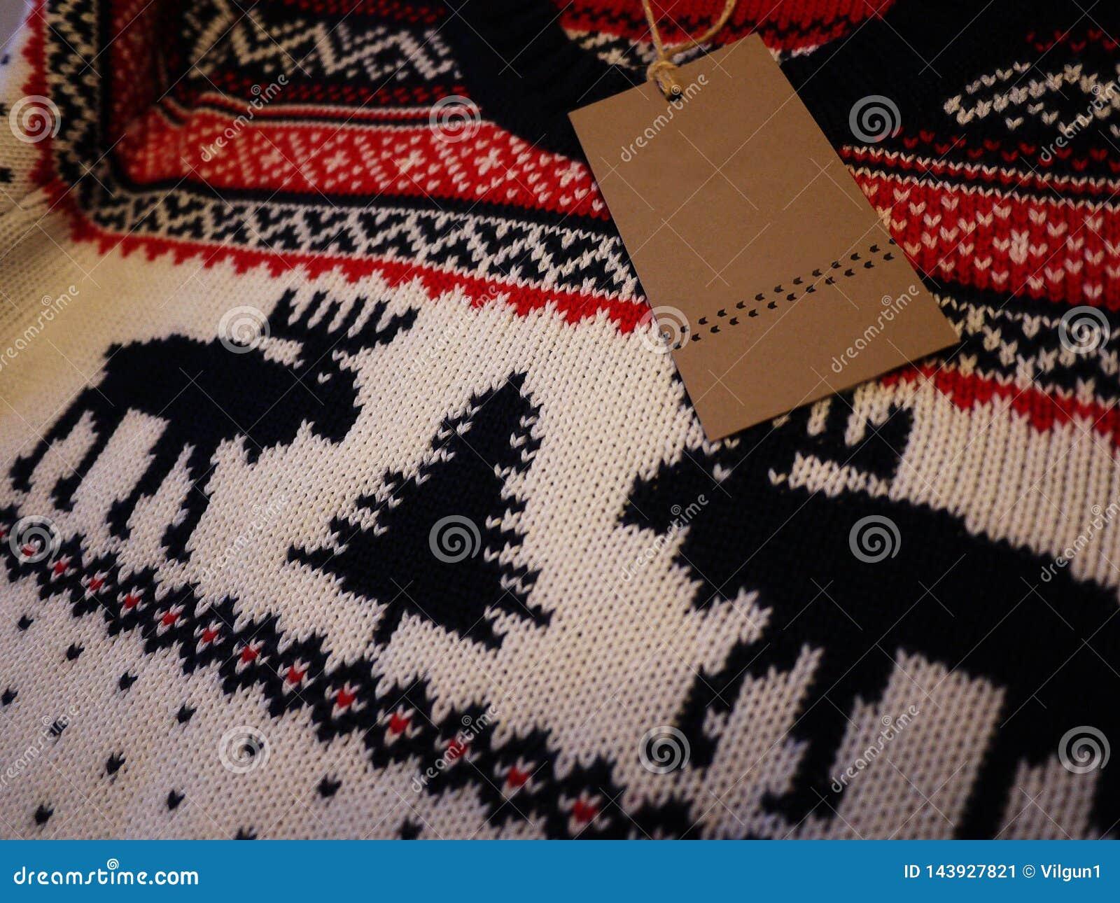 Πουλόβερ ατόμων με τα ελάφια Θερμό και όμορφο πουλόβερ με τα σχέδια των ελαφιών