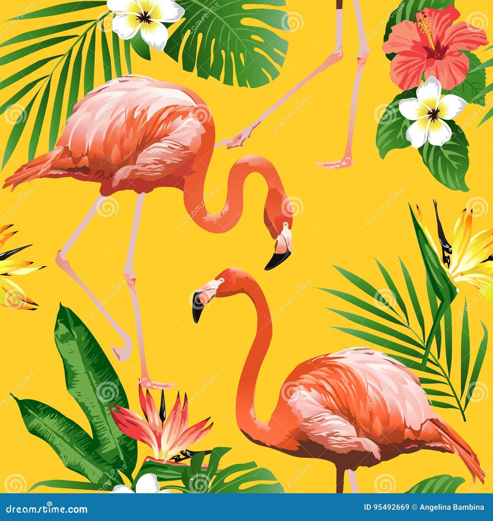 Πουλί φλαμίγκο και τροπικό υπόβαθρο λουλουδιών - άνευ ραφής σχέδιο