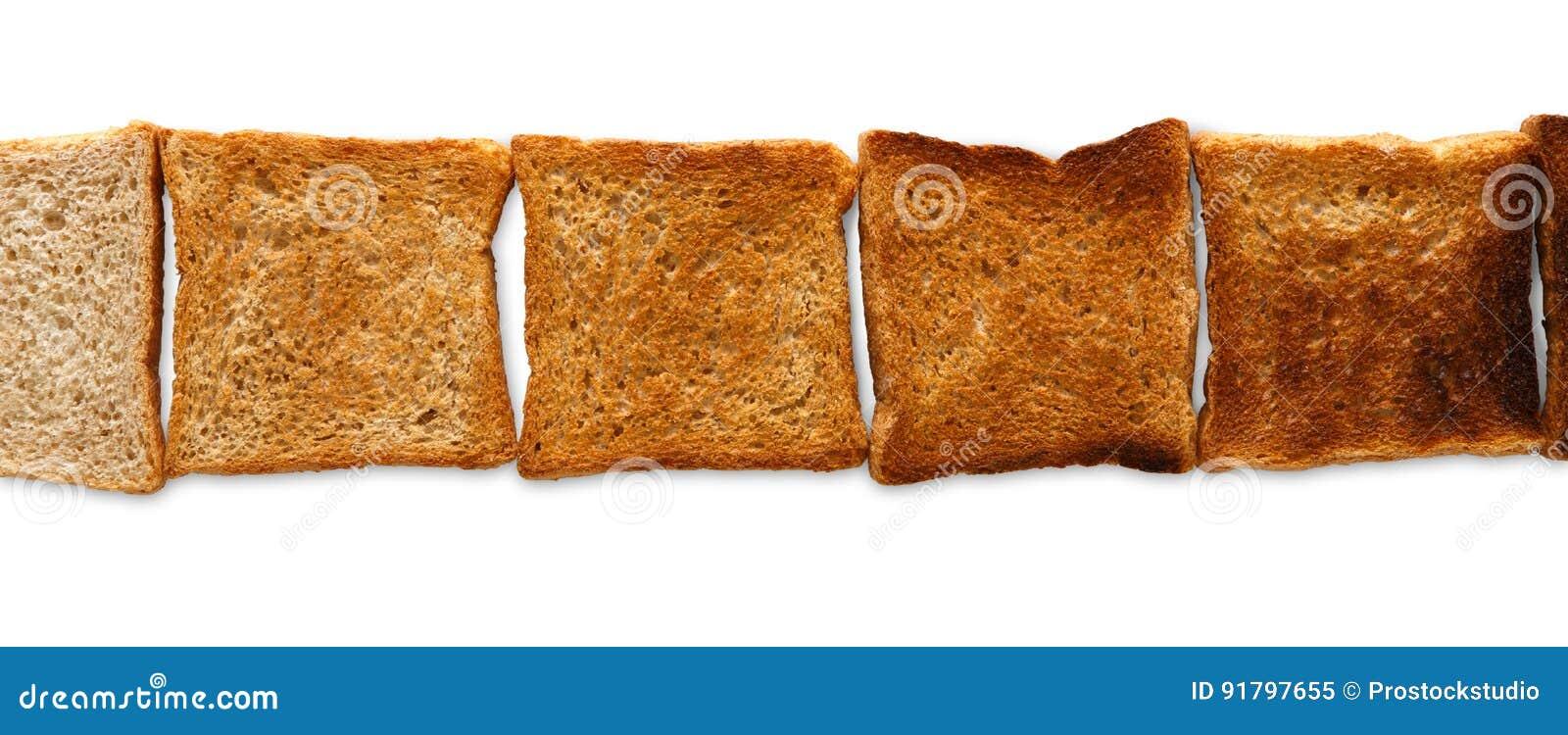 Που μαγειρεύεται φρυγανιά και που καίγεται Βαθμός toastiness στο λευκό