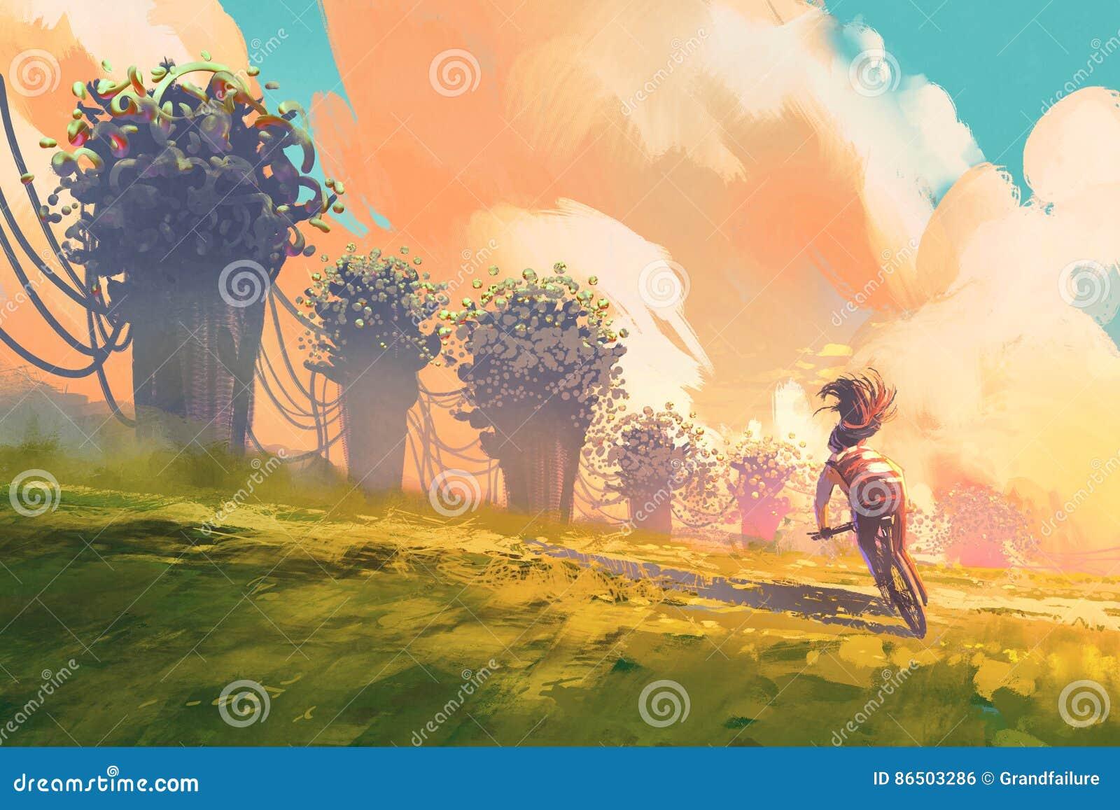 Ποδηλάτης που οδηγά ένα ποδήλατο σε έναν τομέα με το δέντρο φαντασίας και το ζωηρόχρωμο ουρανό