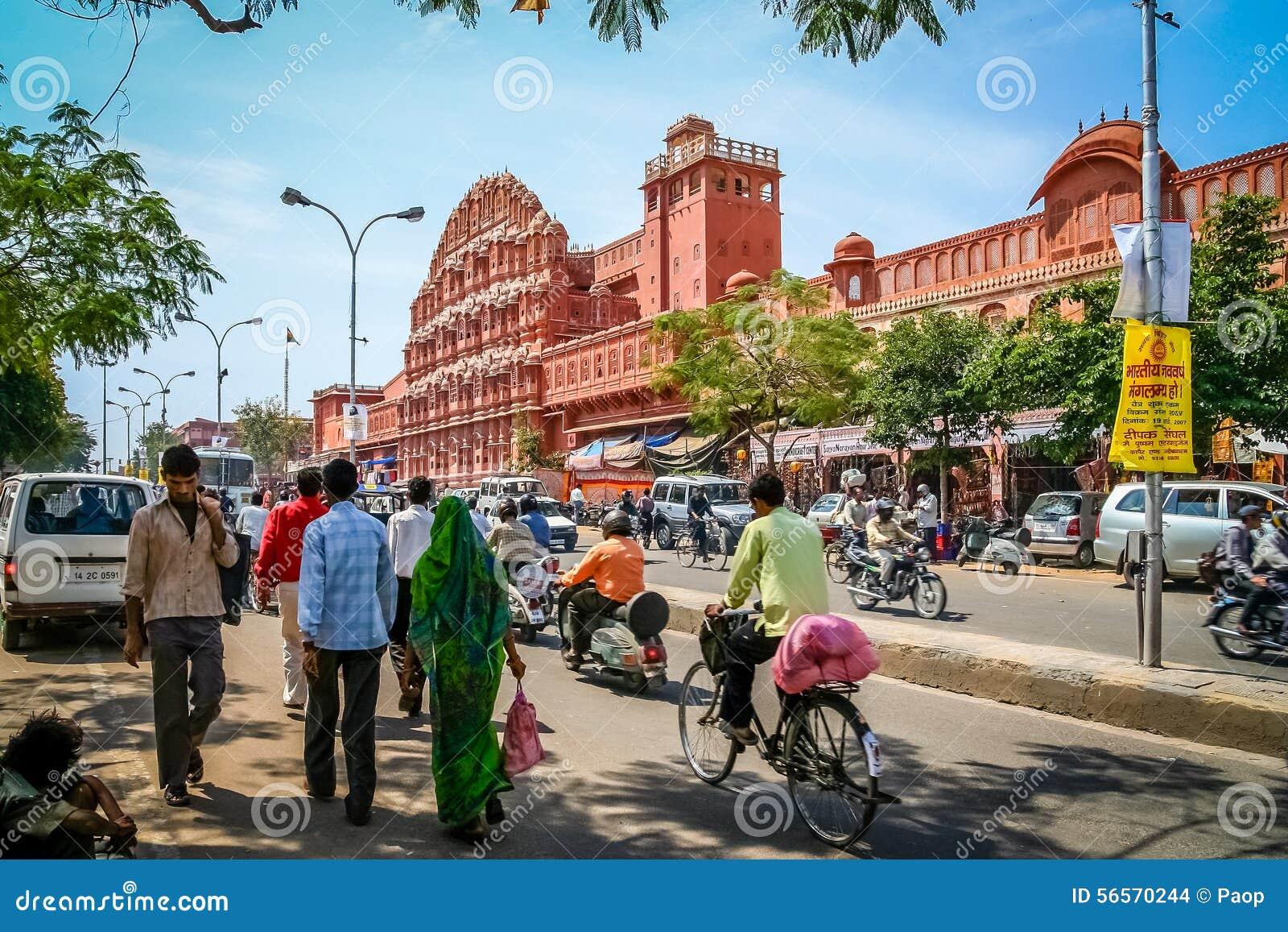Download Πολυάσχολος μπροστά από Hawa Mahal Εκδοτική Στοκ Εικόνα - εικόνα από πόλη, ασιατικοί: 56570244
