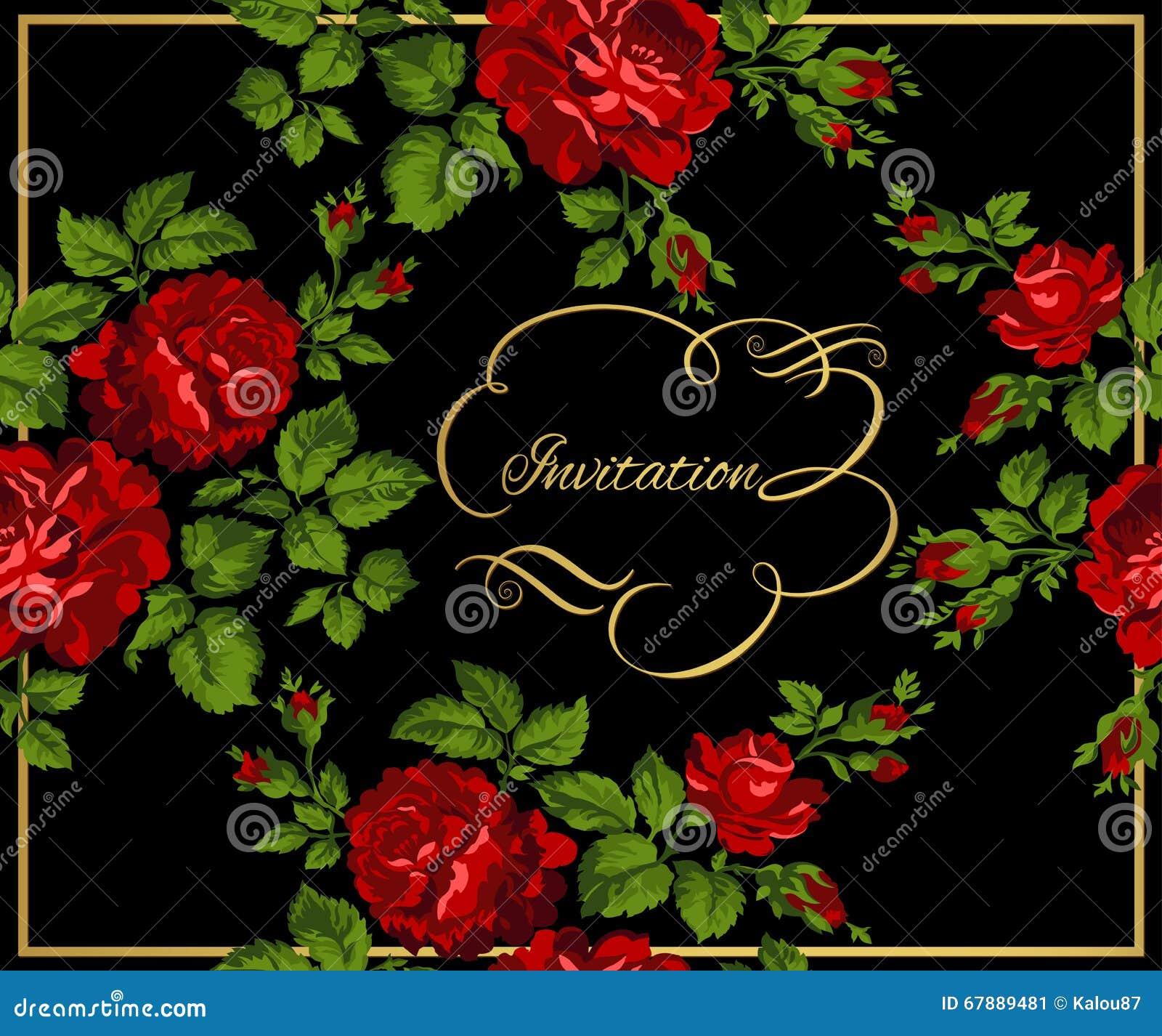 Πολυτελής εκλεκτής ποιότητας κάρτα των κόκκινων τριαντάφυλλων με τη χρυσή καλλιγραφία επίσης corel σύρετε το διάνυσμα απεικόνισης