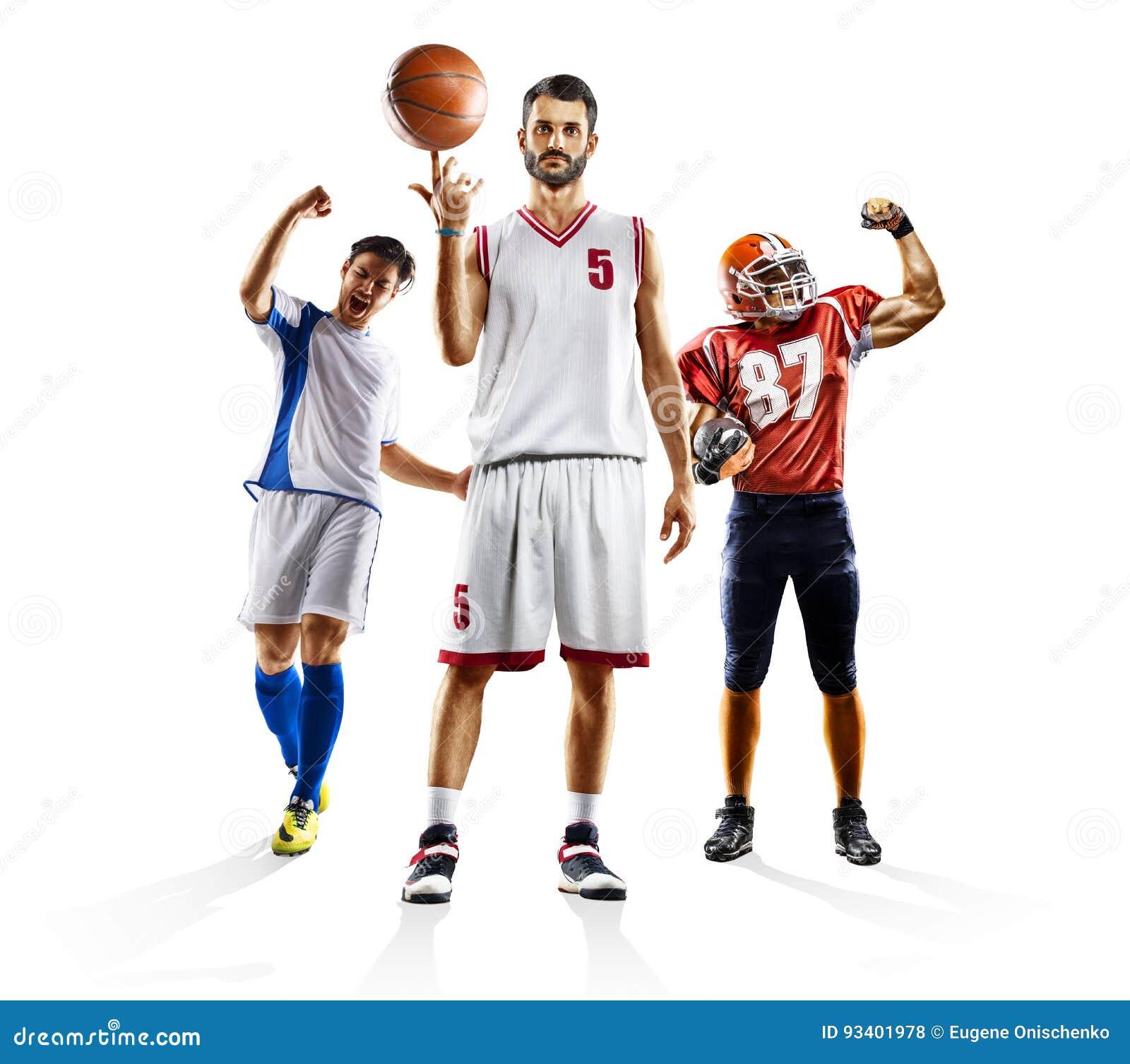 Πολυ αμερικανικό ποδόσφαιρο ποδοσφαίρου αθλητικών κολάζ bascketball