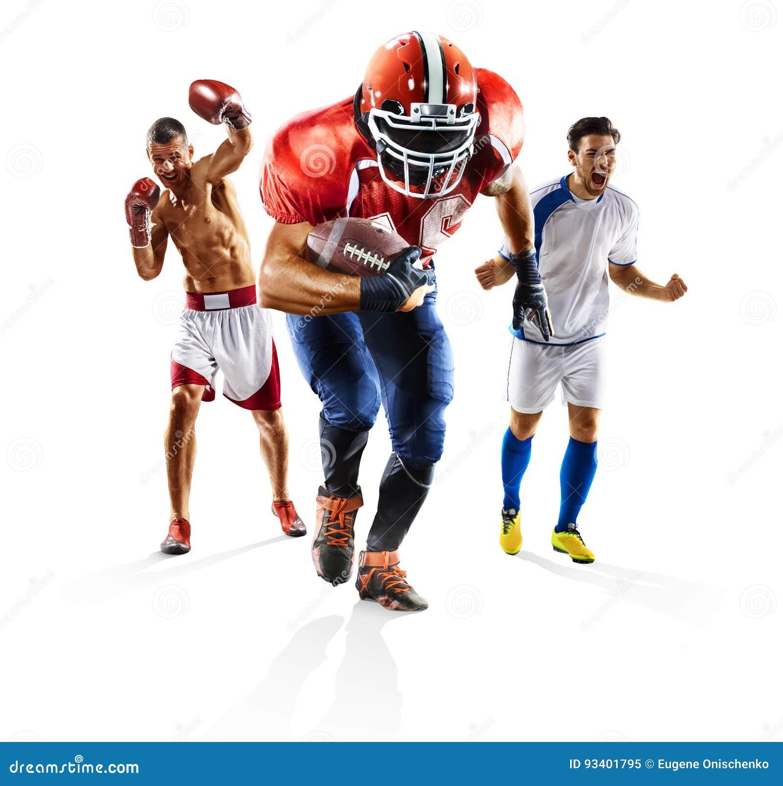 Πολυ εγκιβωτισμός αμερικανικού ποδοσφαίρου ποδοσφαίρου αθλητικών κολάζ