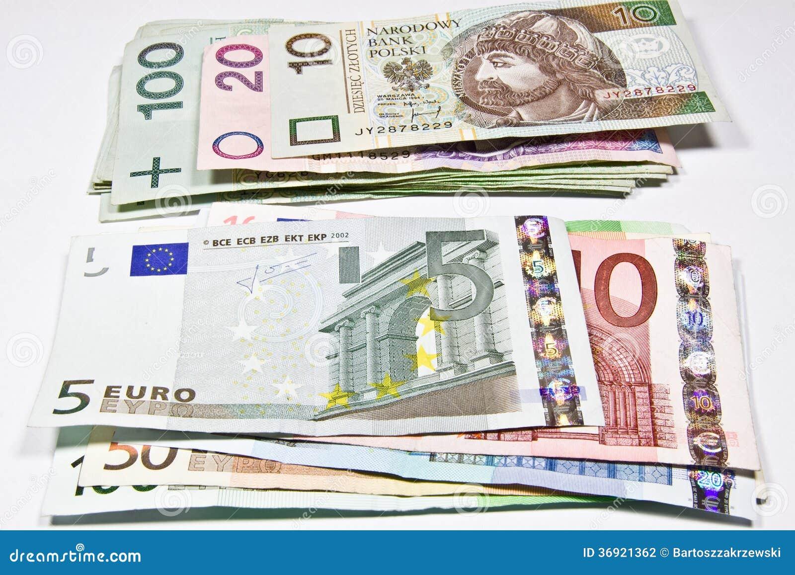 Πολωνικός zloty νομίσματος και το ευρώ