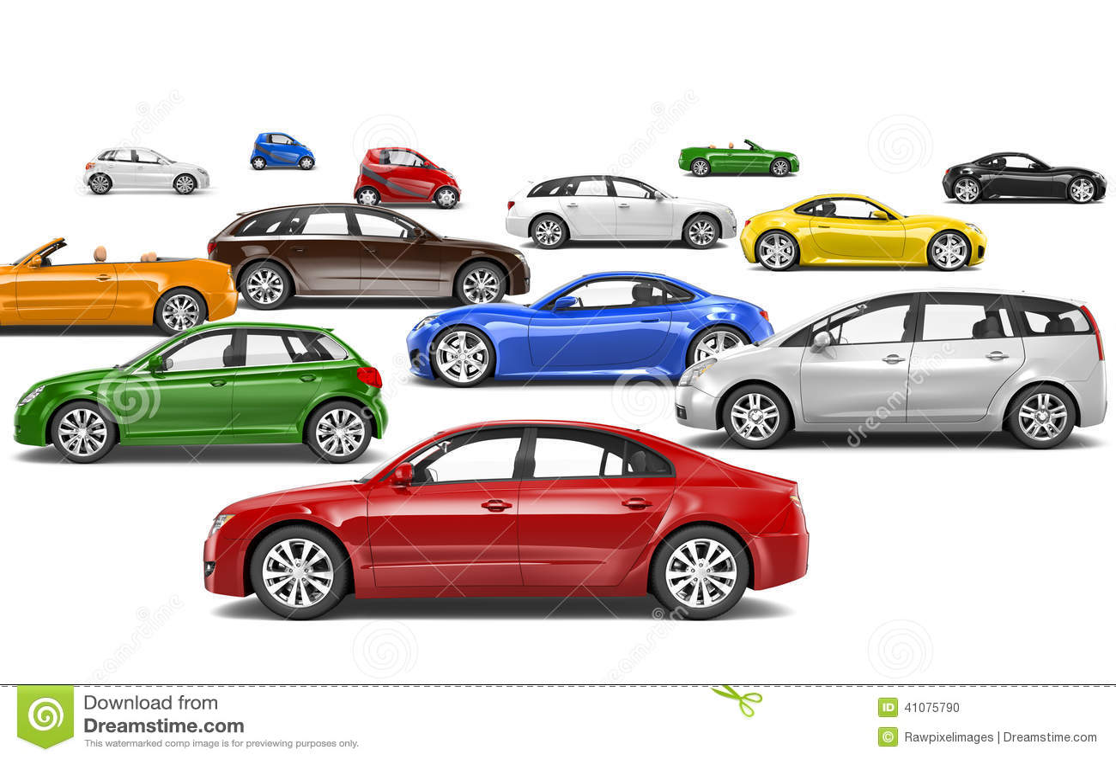 Πολύχρωμα τρισδιάστατα αυτοκίνητα που σταθμεύουν στις διαφορετικές κατευθύνσεις