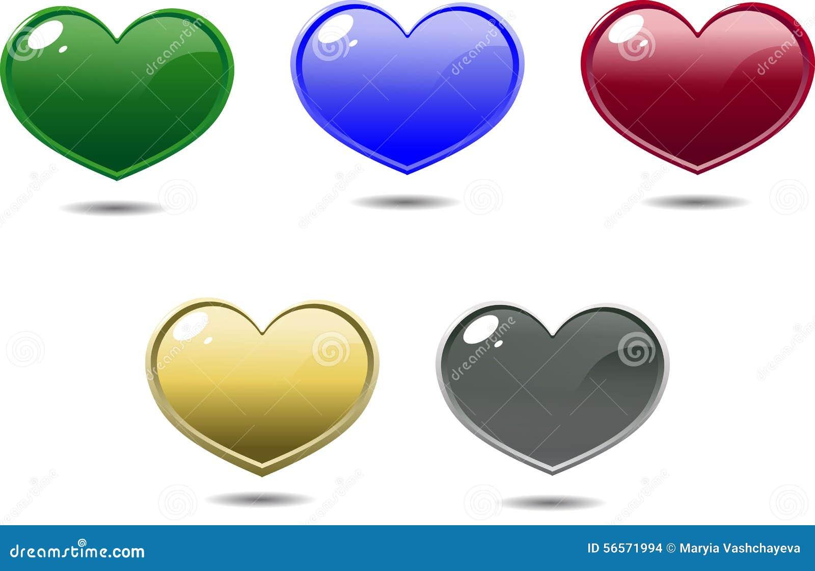Download Πολύχρωμες λαμπρές καρδιές διανυσματική απεικόνιση. εικονογραφία από ποσού - 56571994