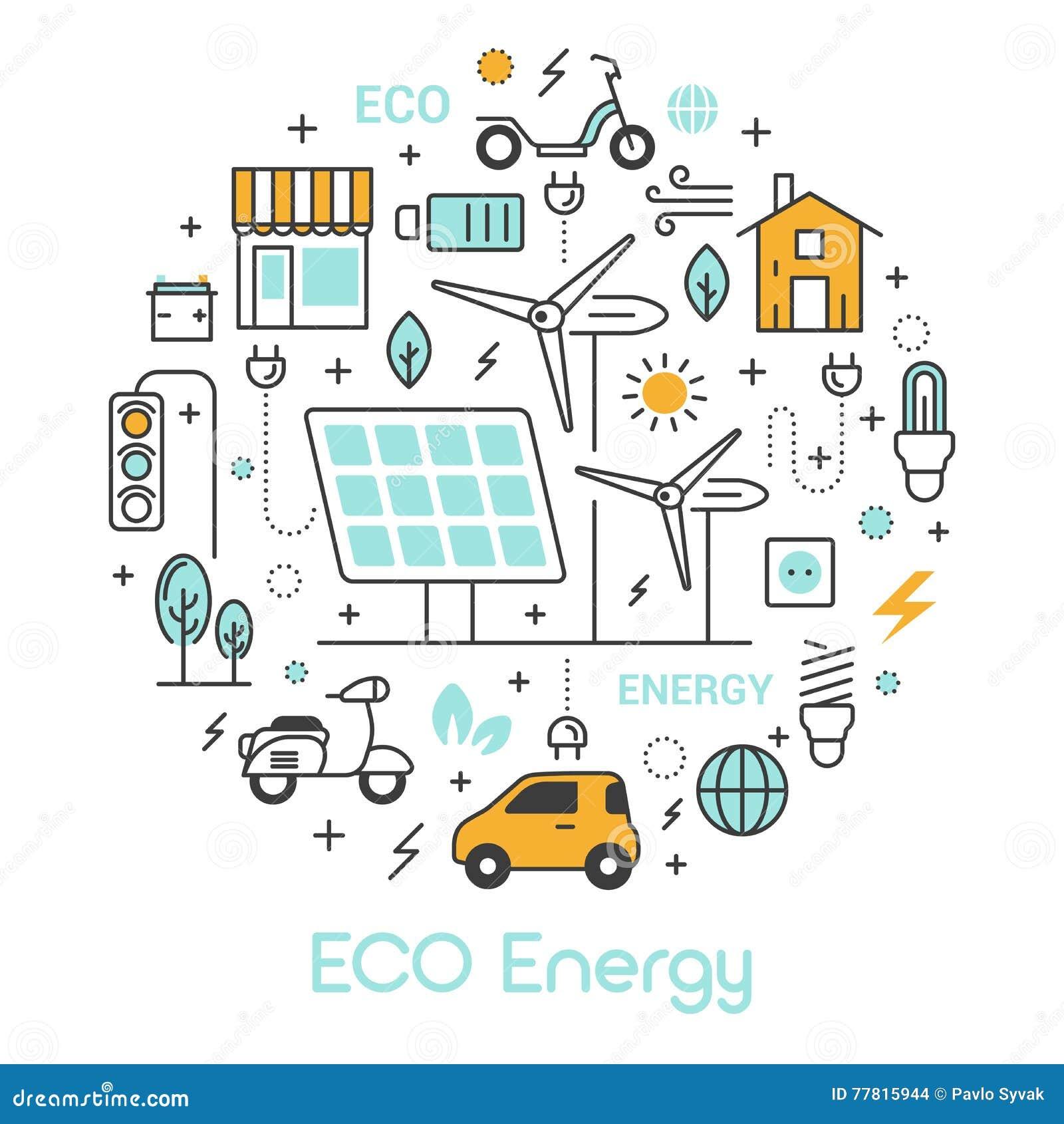 Πράσινα εικονίδια ενεργειακών λεπτά γραμμών ECO που τίθενται με την ηλιακούς μπαταρία και τον ανεμόμυλο