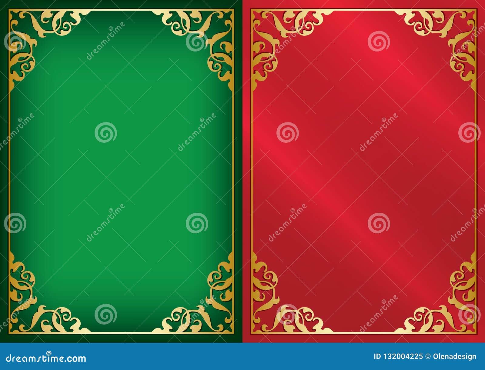 Πράσινα και κόκκινα διανυσματικά υπόβαθρα με τα χρυσά διακοσμητικά πλαίσια
