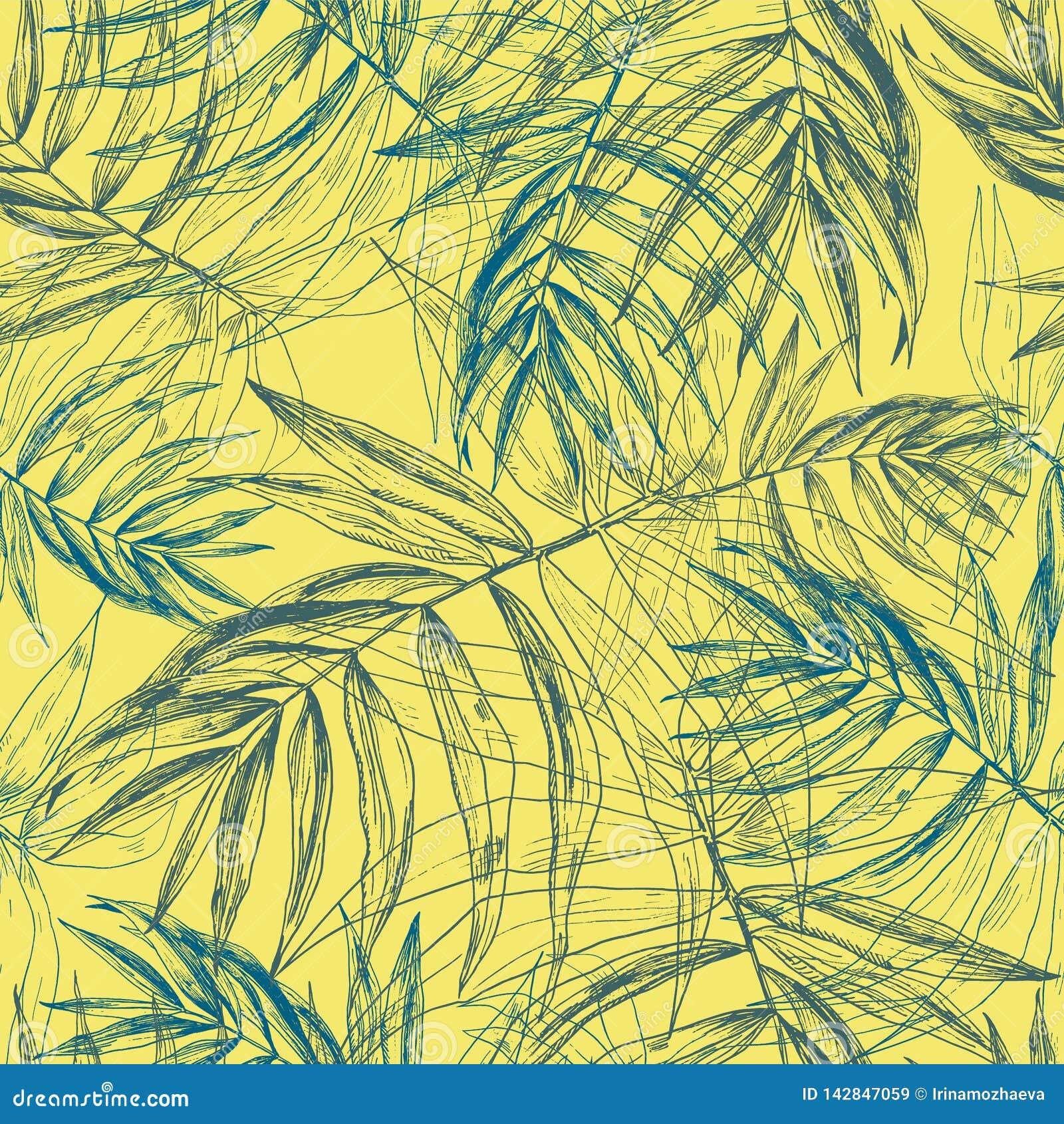 Πράσινα μπλε τροπικά φύλλα φοινικών, άνευ ραφής floral σχέδιο φύλλων ζουγκλών στο ηλιόλουστο κίτρινο υπόβαθρο