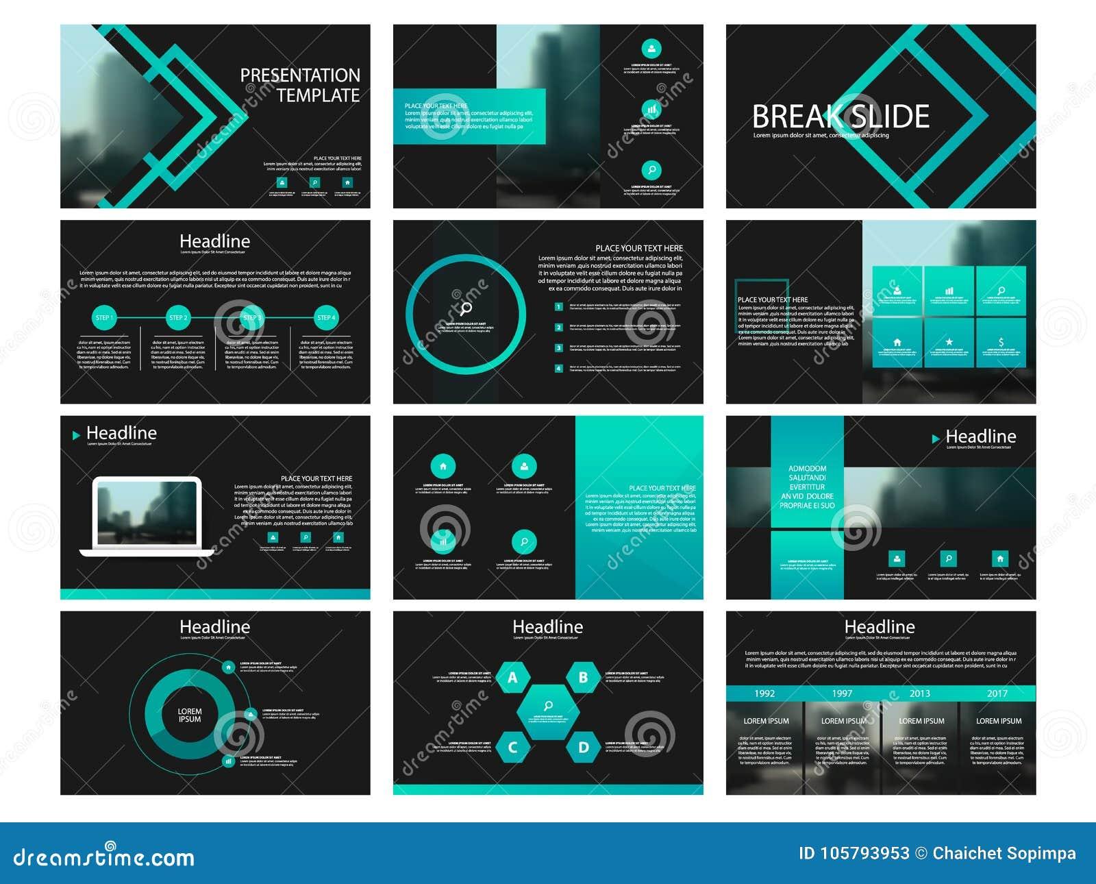 Πράσινα στοιχεία προτύπων παρουσίασης σε ένα μαύρο υπόβαθρο Διανυσματικό infographics Χρήση στην παρουσίαση, το ιπτάμενο και το φ