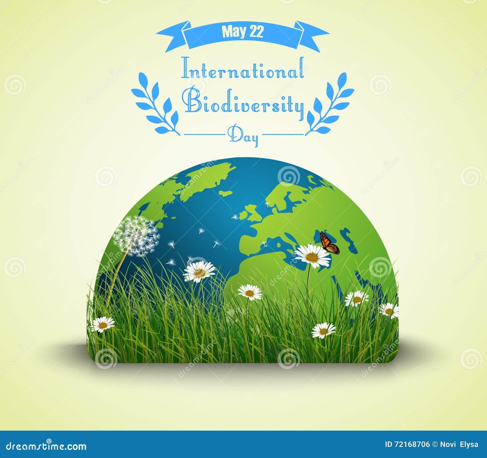 Πράσινα χλόη και λουλούδια με τη γη για το διεθνές υπόβαθρο ημέρας βιοποικιλότητας