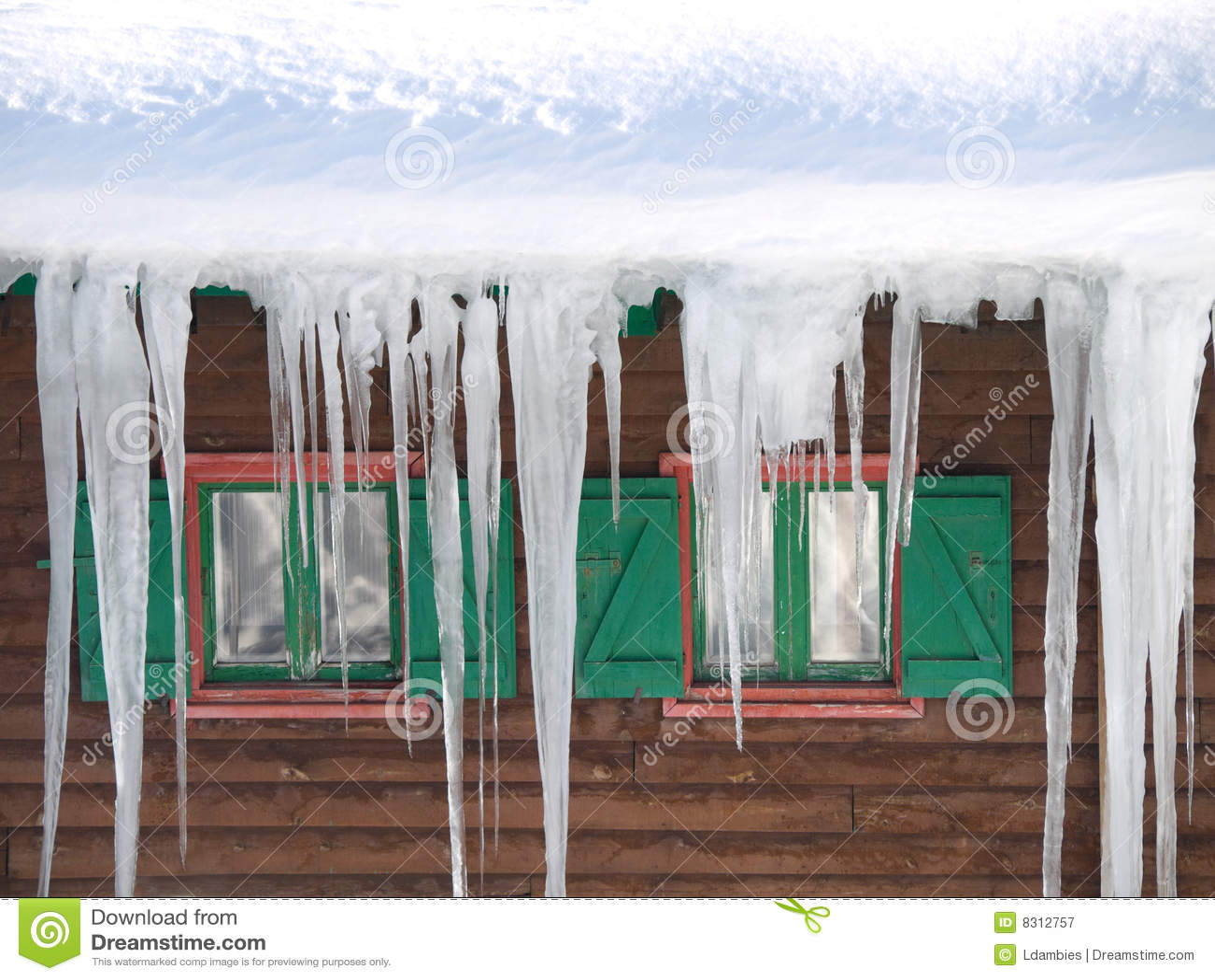 πράσινα Windows σταλακτιτών πάγου ξύλινα