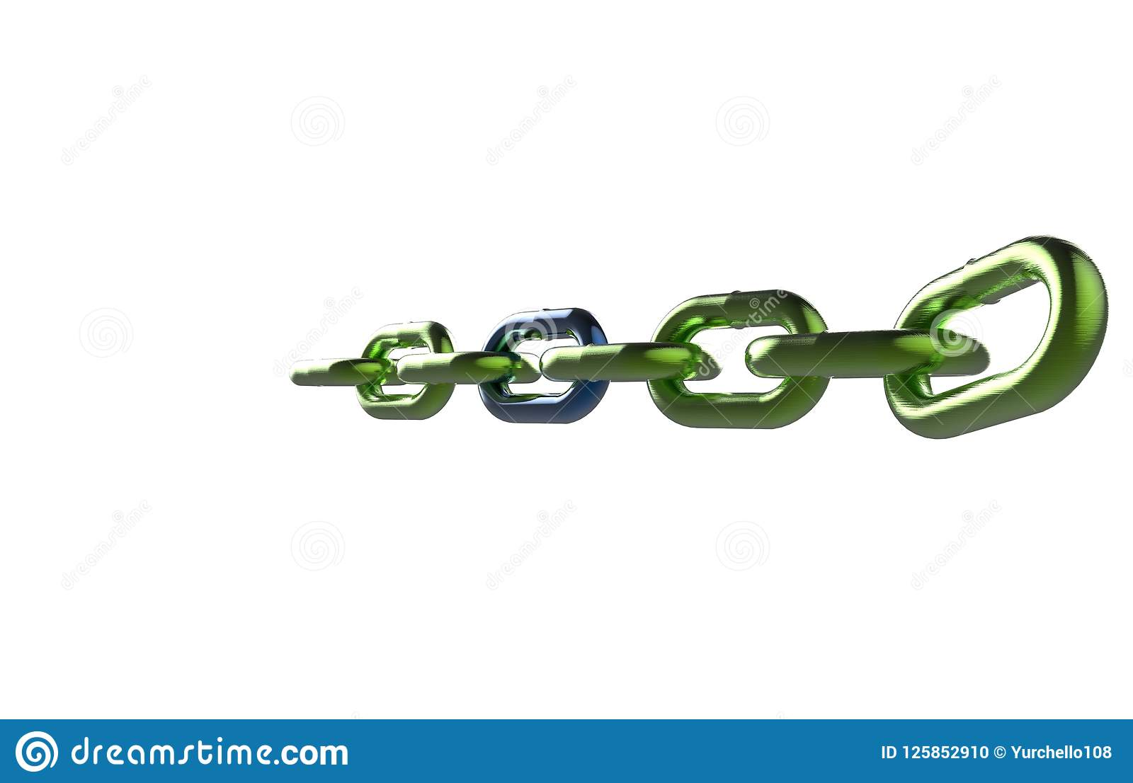 Πράσινη αλυσίδα μετάλλων με την μπλε τρισδιάστατη απόδοση συνδέσεων