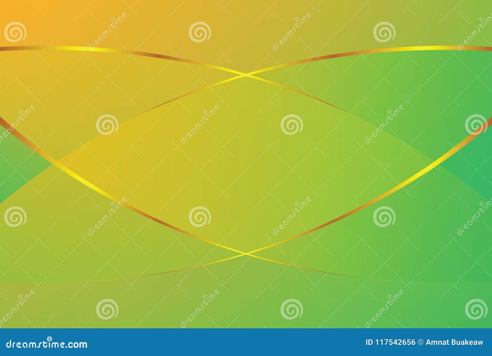 Πράσινη και κίτρινη μαλακή ελαφριά και χρυσή γραμμή χρώματος κλίσης γραφική για το σύγχρονο υπόβαθρο πολυτέλειας διαφήμισης εμβλη