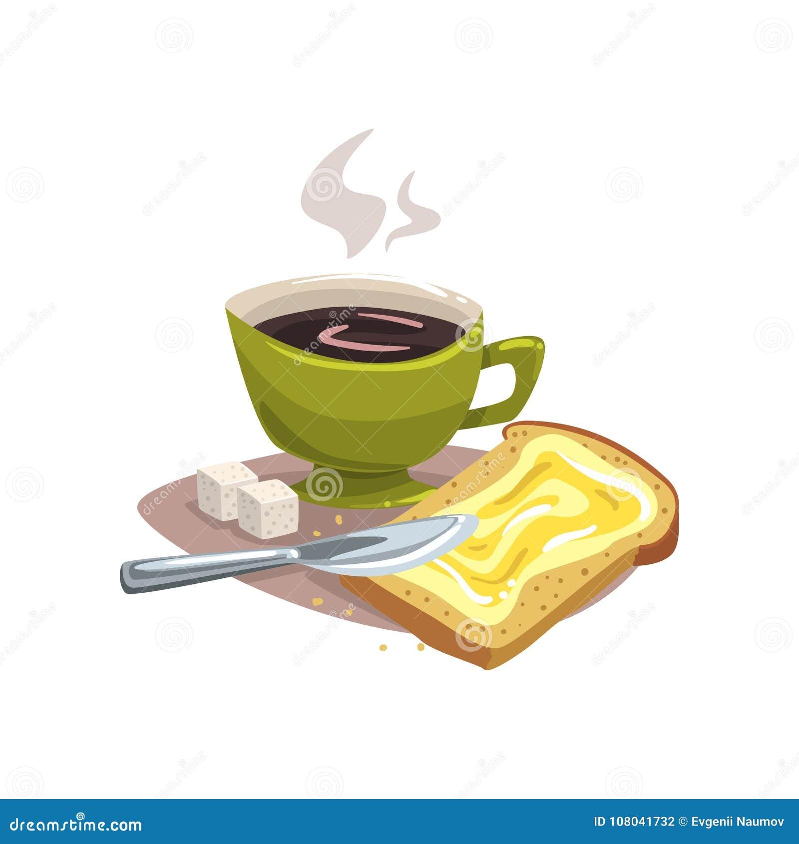 Πράσινη κούπα κινούμενων σχεδίων με τον καυτό καφέ, ψωμί με το βούτυρο και δύο κύβοι της ζάχαρης Εύγευστη έννοια προγευμάτων παλα