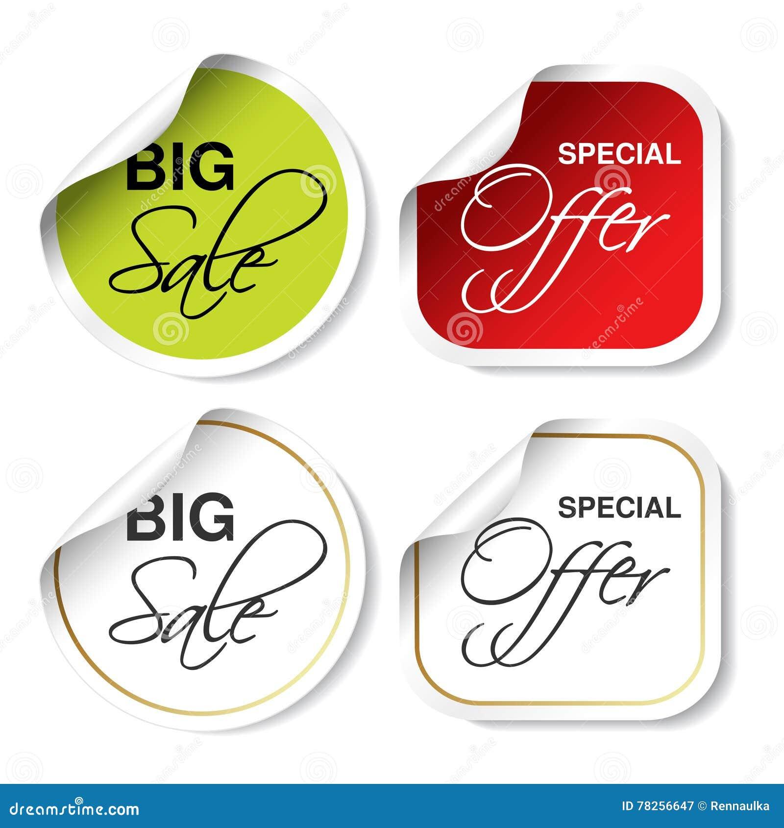 Πράσινη, κόκκινη και άσπρη ετικέτα διαφήμισης Κυκλικές και τετραγωνικές καμμμένες αυτοκόλλητες ετικέττες Μεγάλη πώληση και ειδική