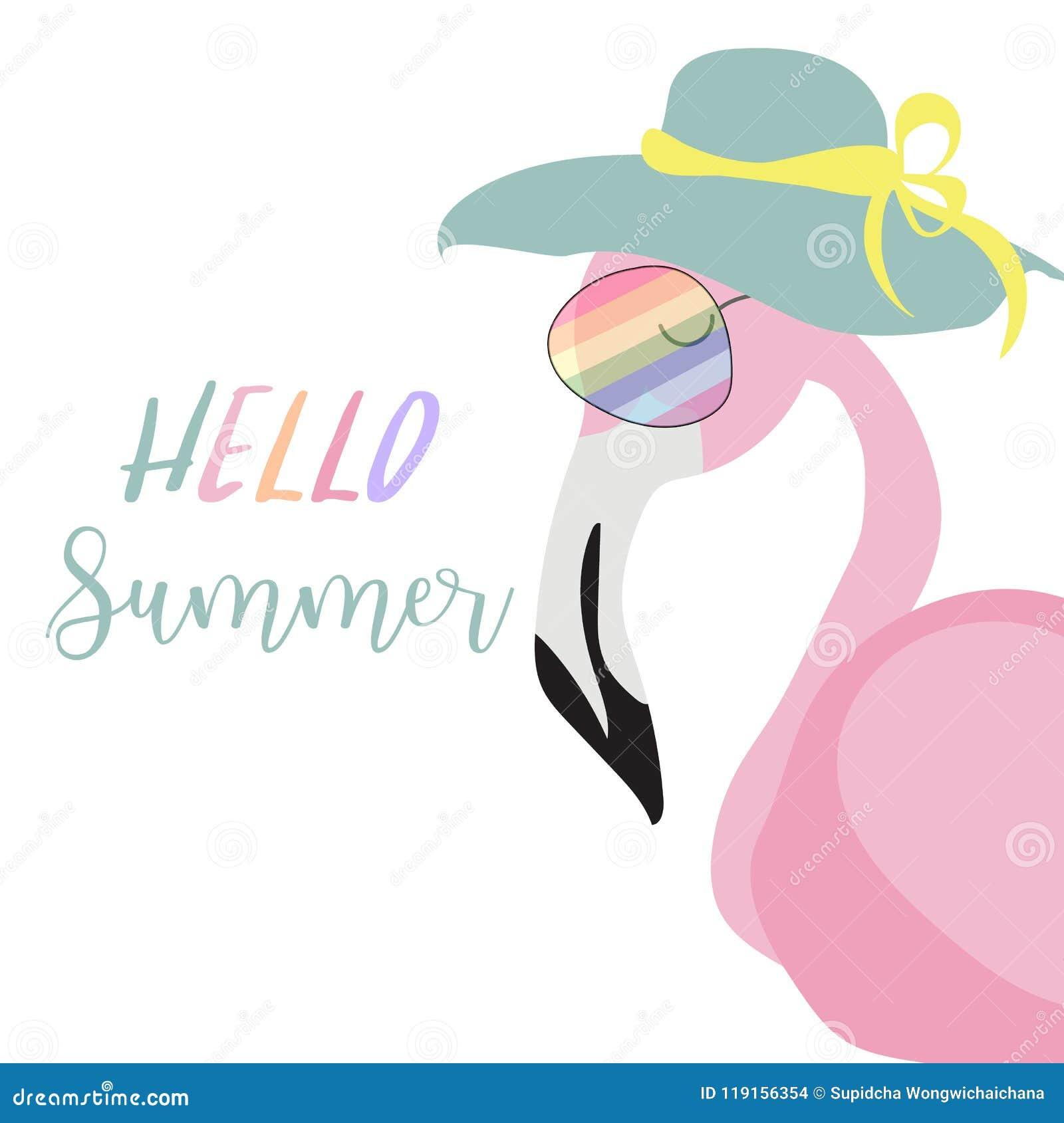 Πράσινη ροζ κάρτα πρόσκλησης με το φλαμίγκο και καπέλο το καλοκαίρι