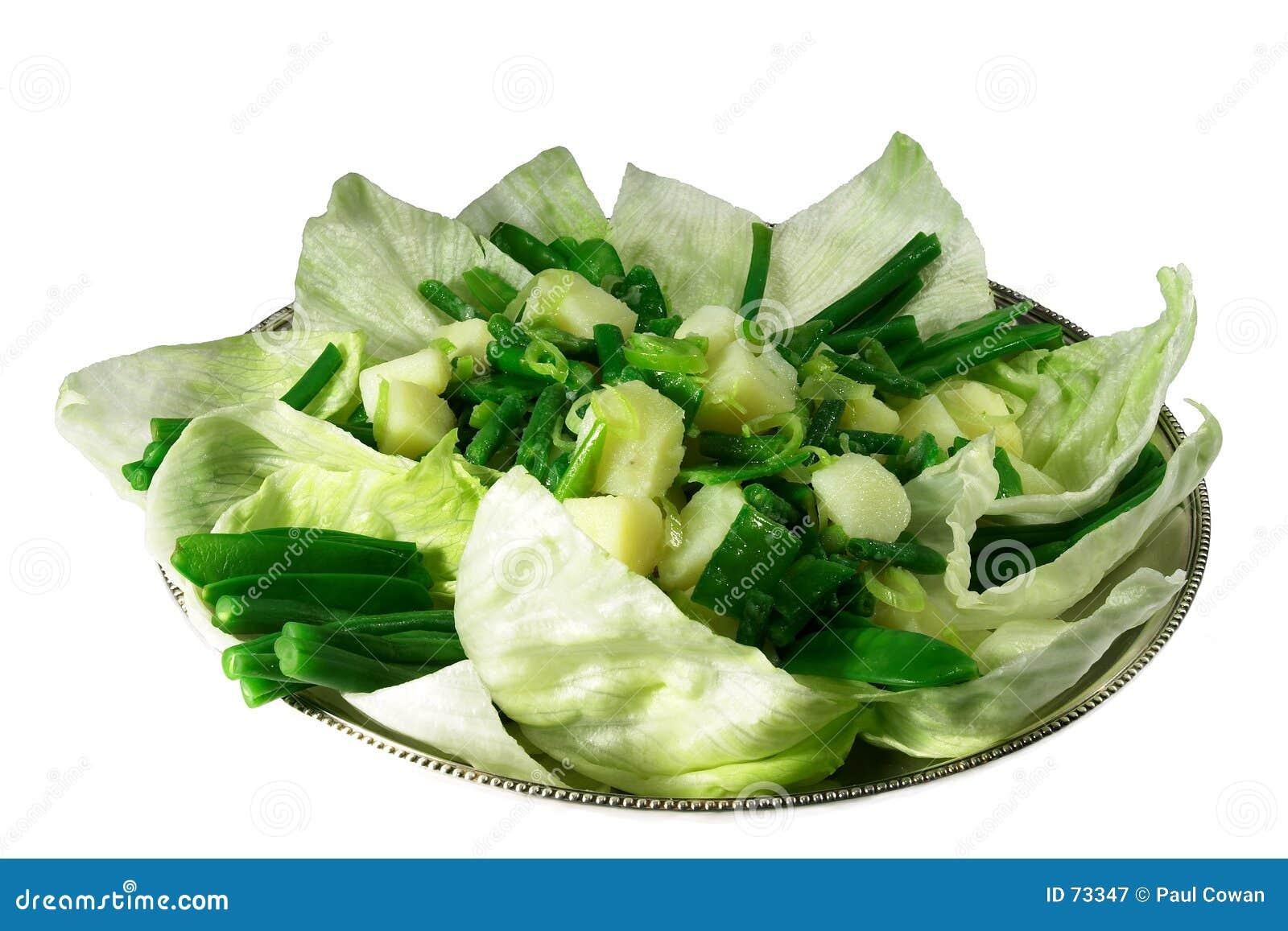 πράσινη σαλάτα πατατών φασολιών