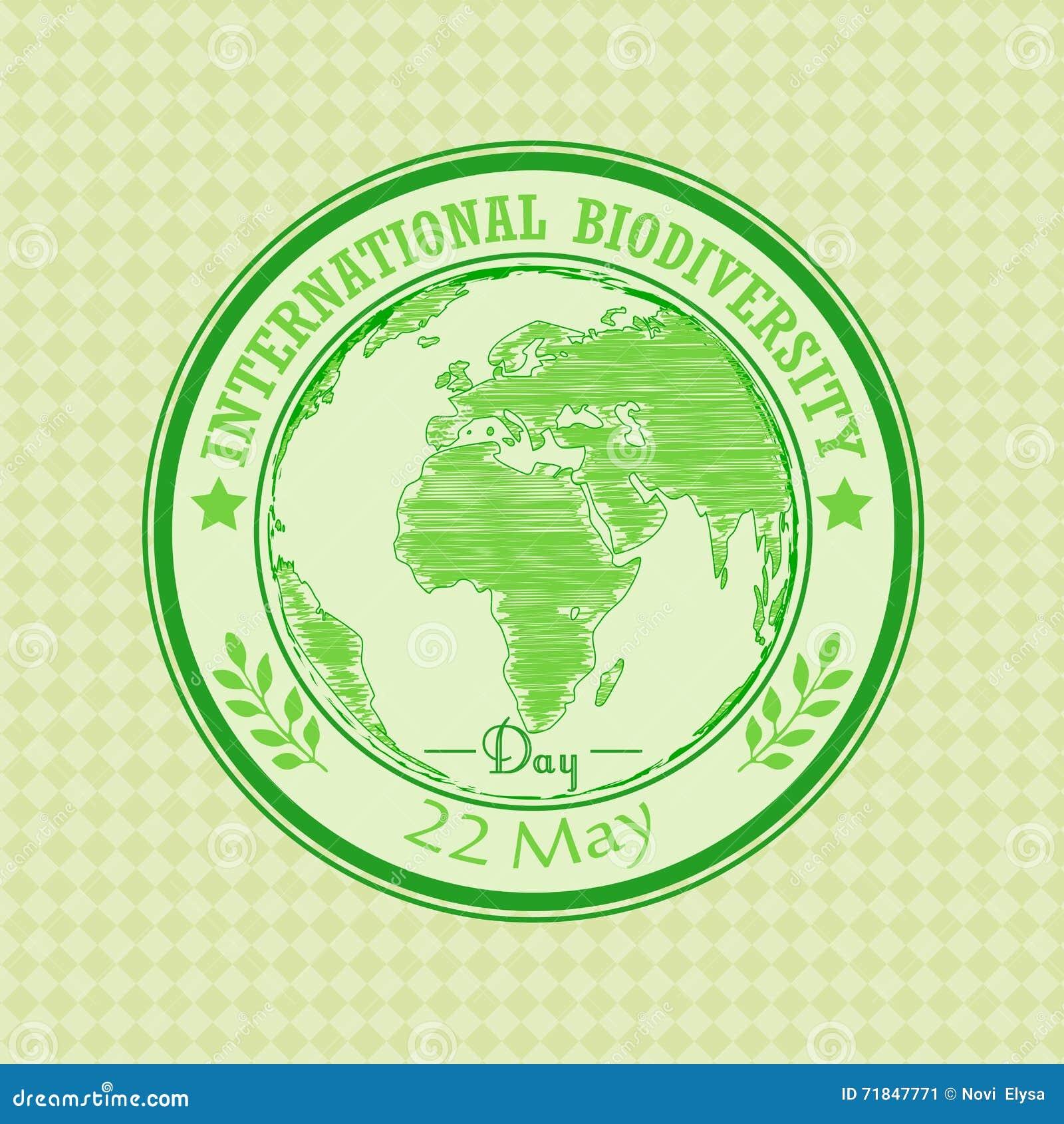 Πράσινη σφραγίδα grunge με το διεθνές στις 22 Μαΐου ημέρας βιοποικιλότητας κειμένων γραπτό μέσα