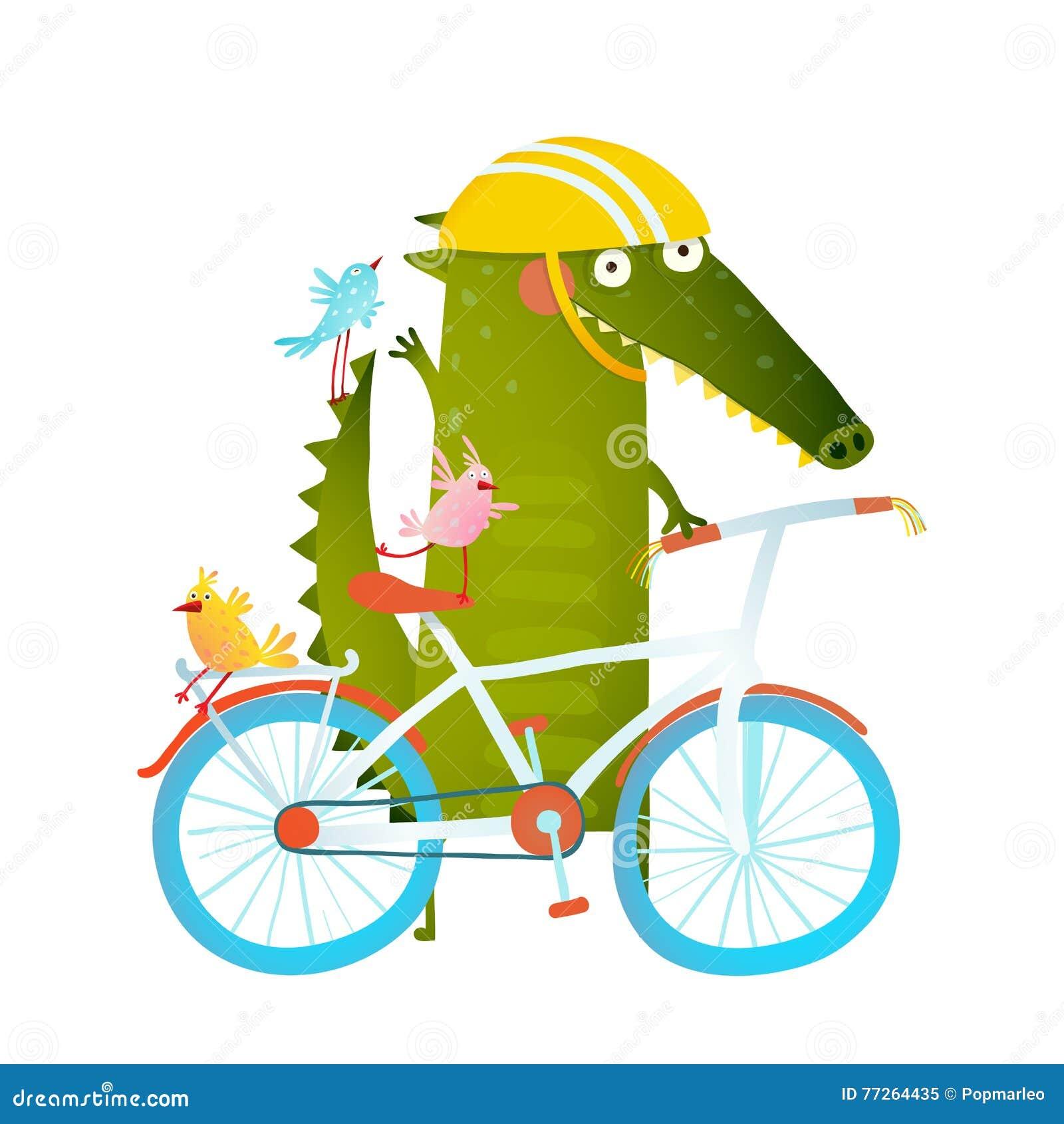 Πράσινος αστείος κροκόδειλος κινούμενων σχεδίων στο κράνος με τους φίλους ποδηλάτων και πουλιών