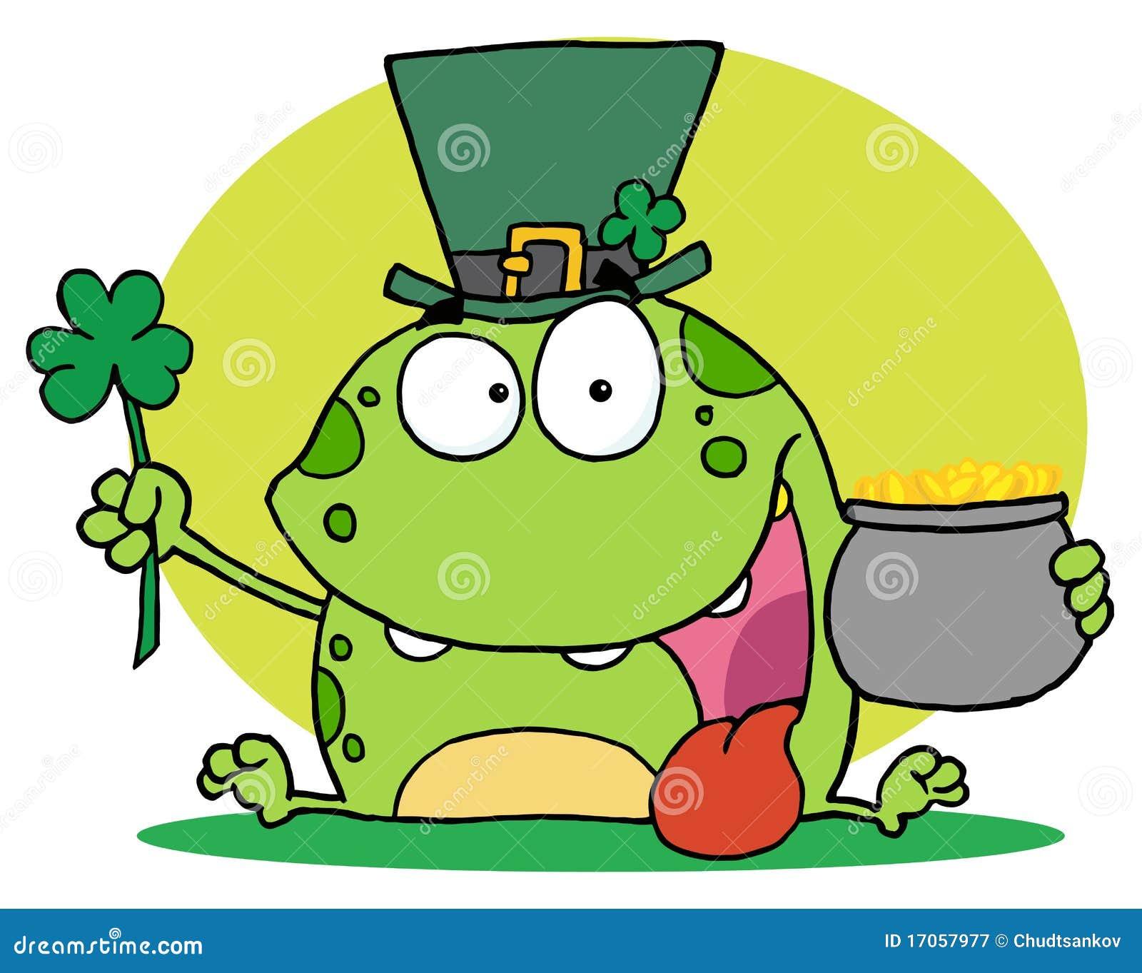 Πράσινος βάτραχος leprechaun που φορά ένα καπέλο
