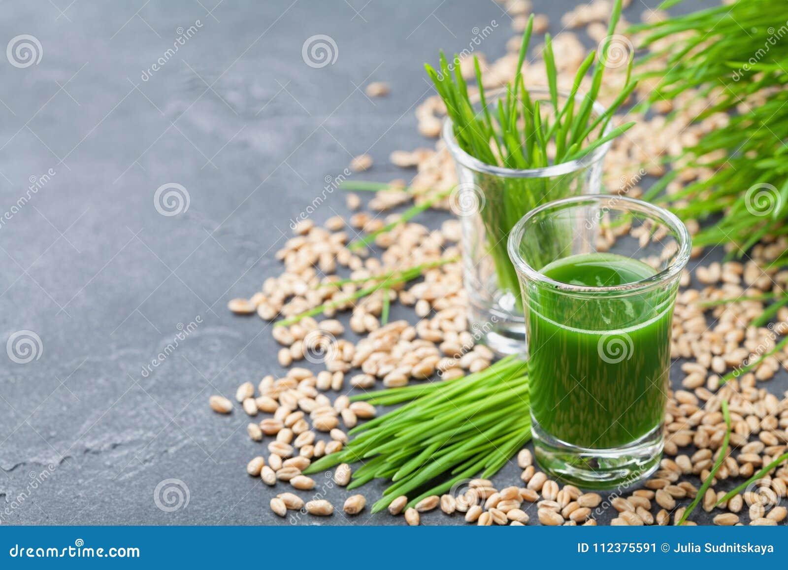 Πράσινος οργανικός χυμός χλόης σίτου Ποτό πρωινού Έννοια Superfood