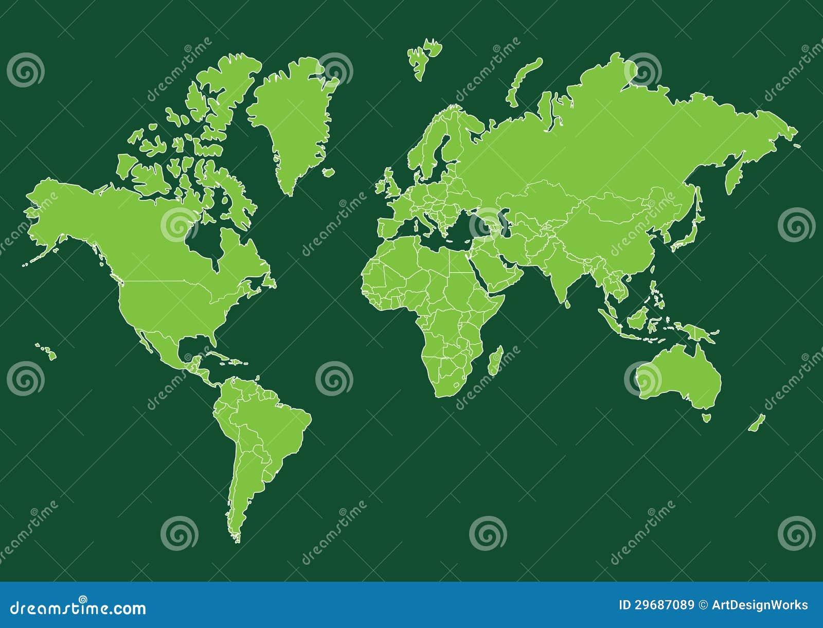 Πράσινος παγκόσμιος χάρτης με τις χώρες