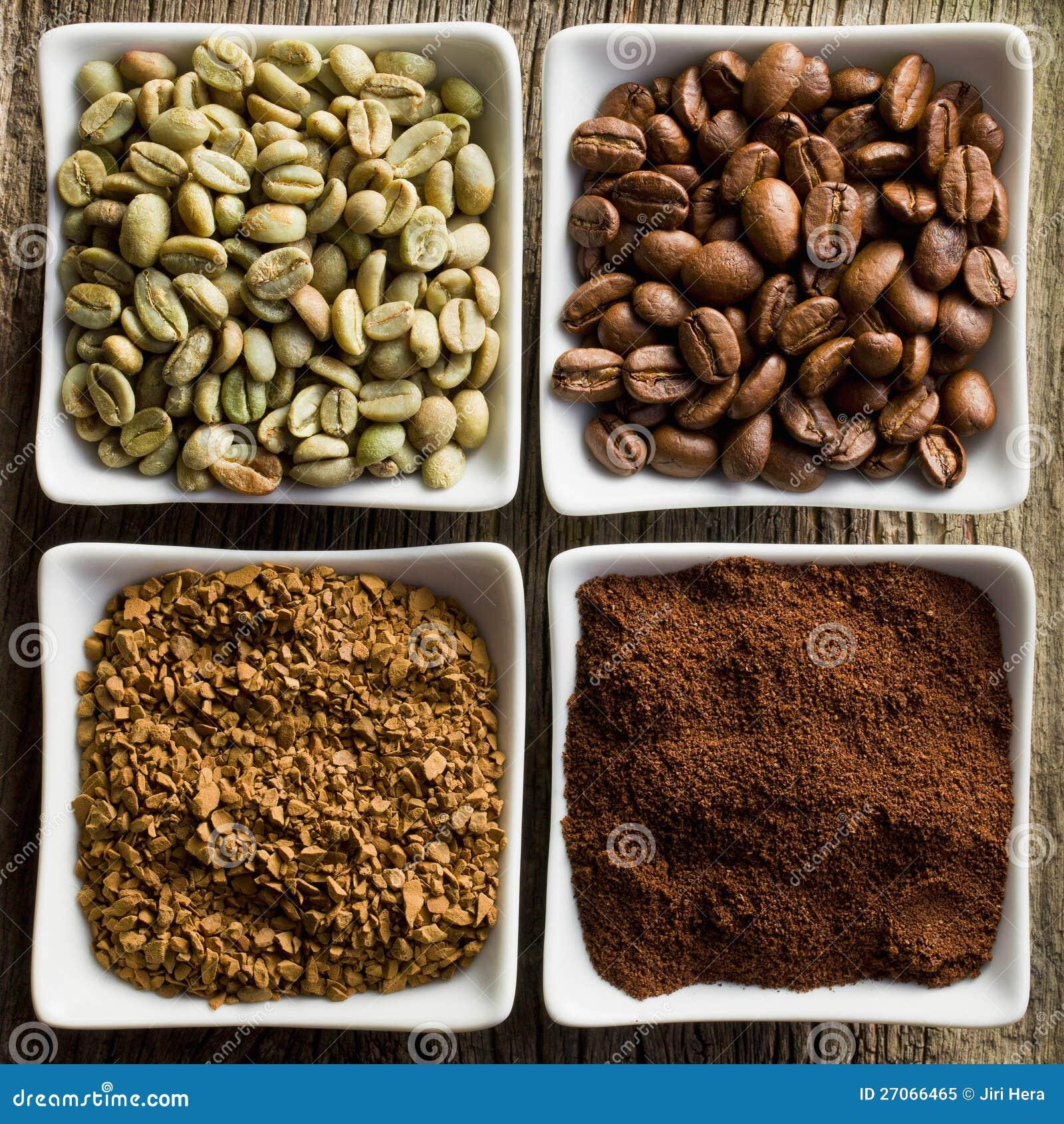Πράσινος, ψημένος, έδαφος και στιγμιαίος καφές