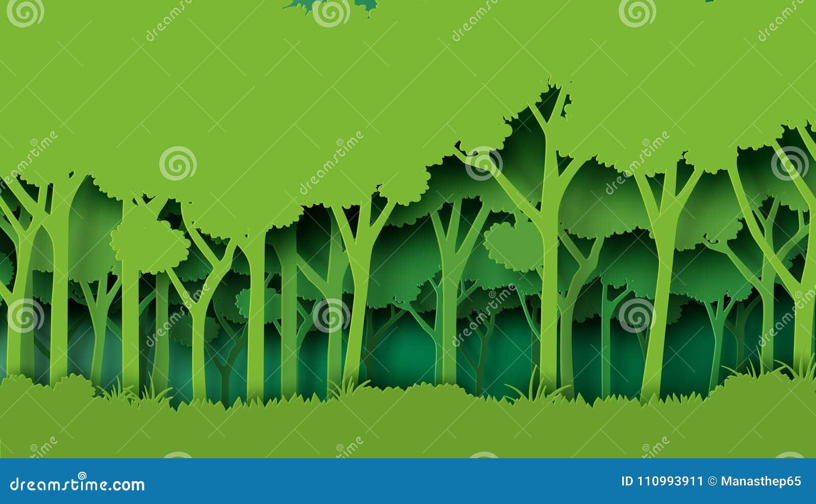 Πράσινο δασικό ύφος τέχνης εγγράφου