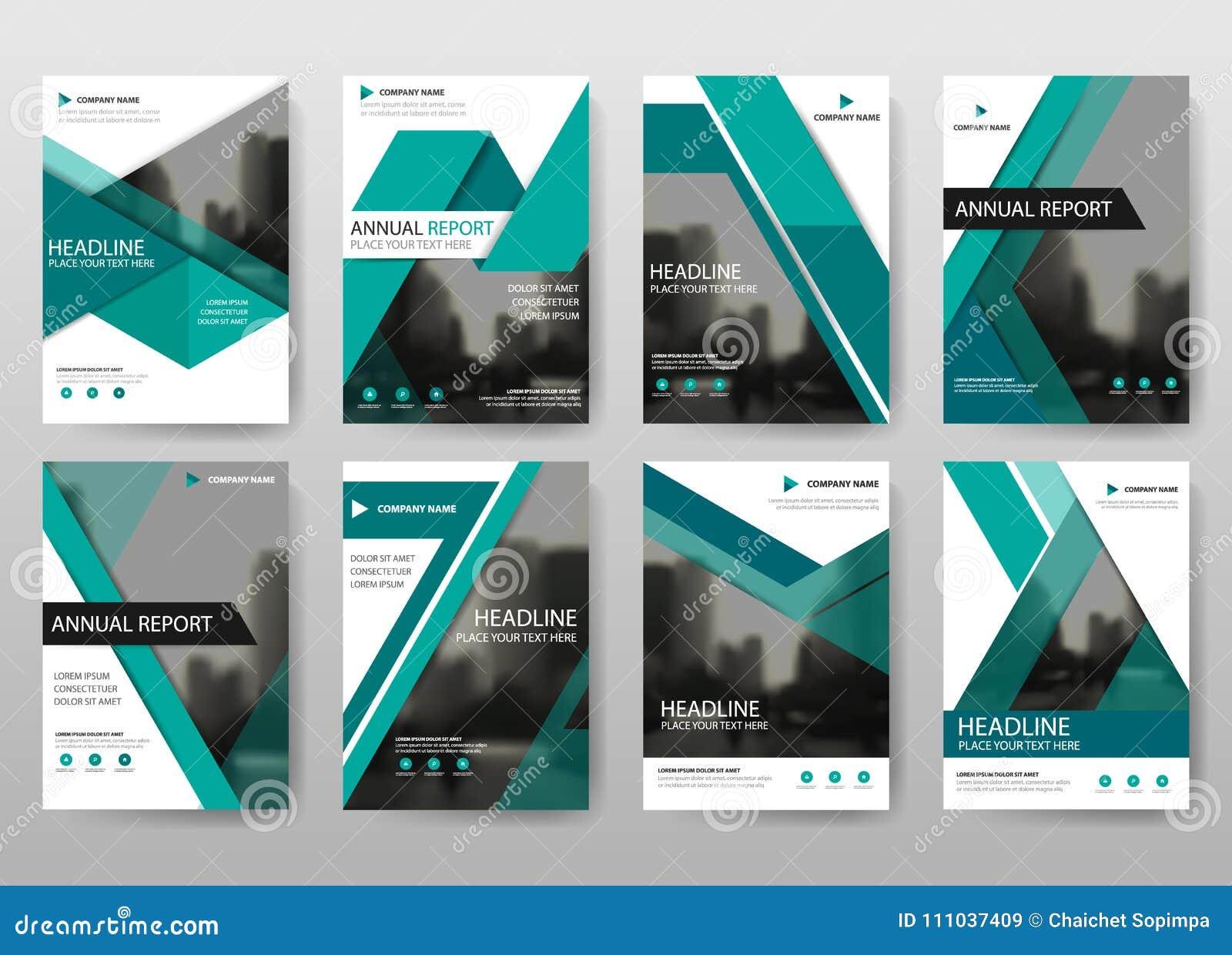 Πράσινο διάνυσμα προτύπων σχεδίου ιπτάμενων φυλλάδιων ετήσια εκθέσεων δεσμών, αφηρημένο επίπεδο υπόβαθρο παρουσίασης κάλυψης φυλλ