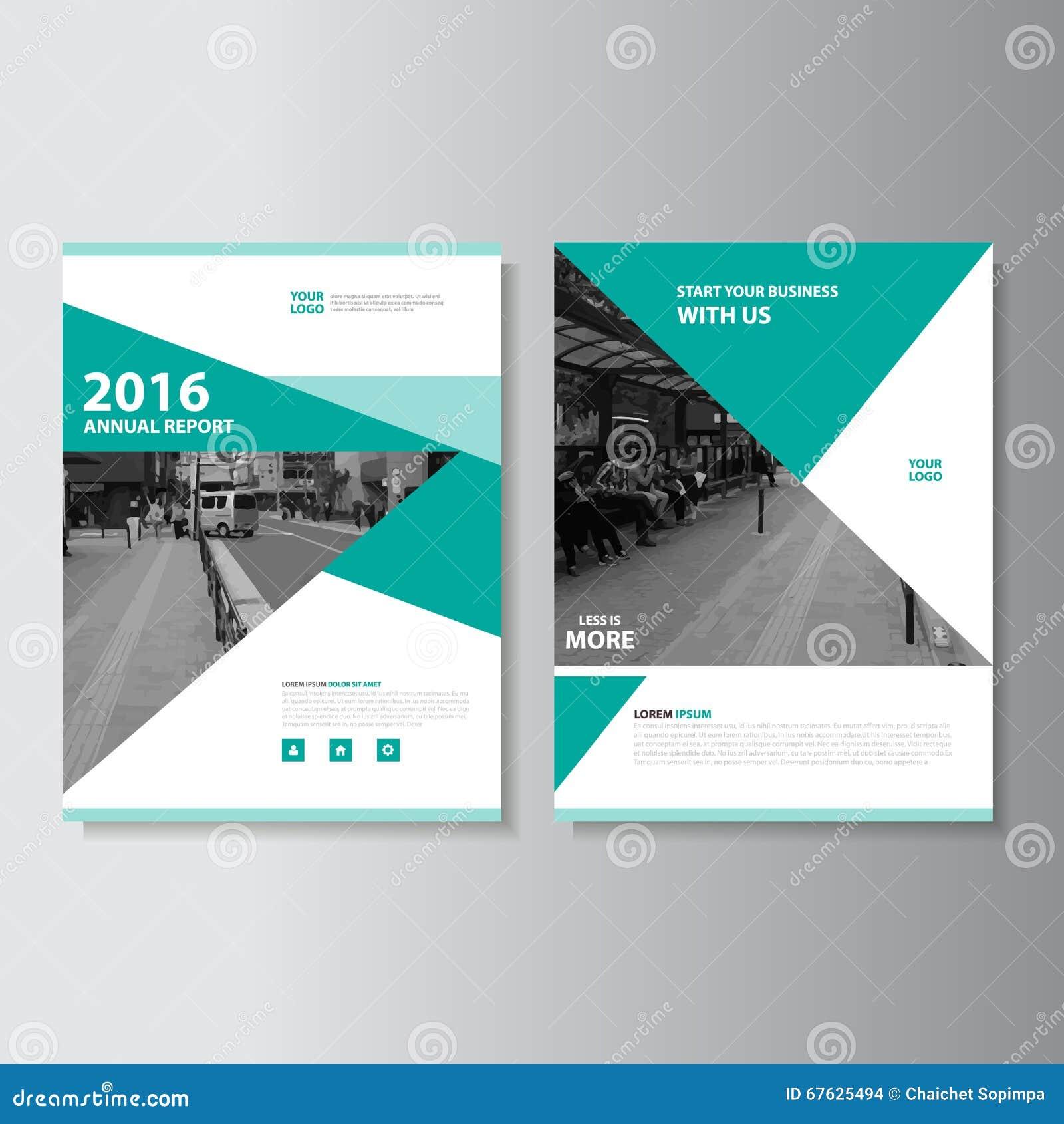 Πράσινο διανυσματικό σχέδιο προτύπων ιπτάμενων φυλλάδιων φυλλάδιων ετήσια εκθέσεων περιοδικών, σχέδιο σχεδιαγράμματος κάλυψης βιβ