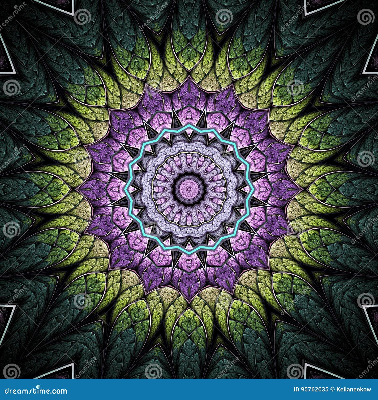 Πράσινο και ιώδες fractal mandala