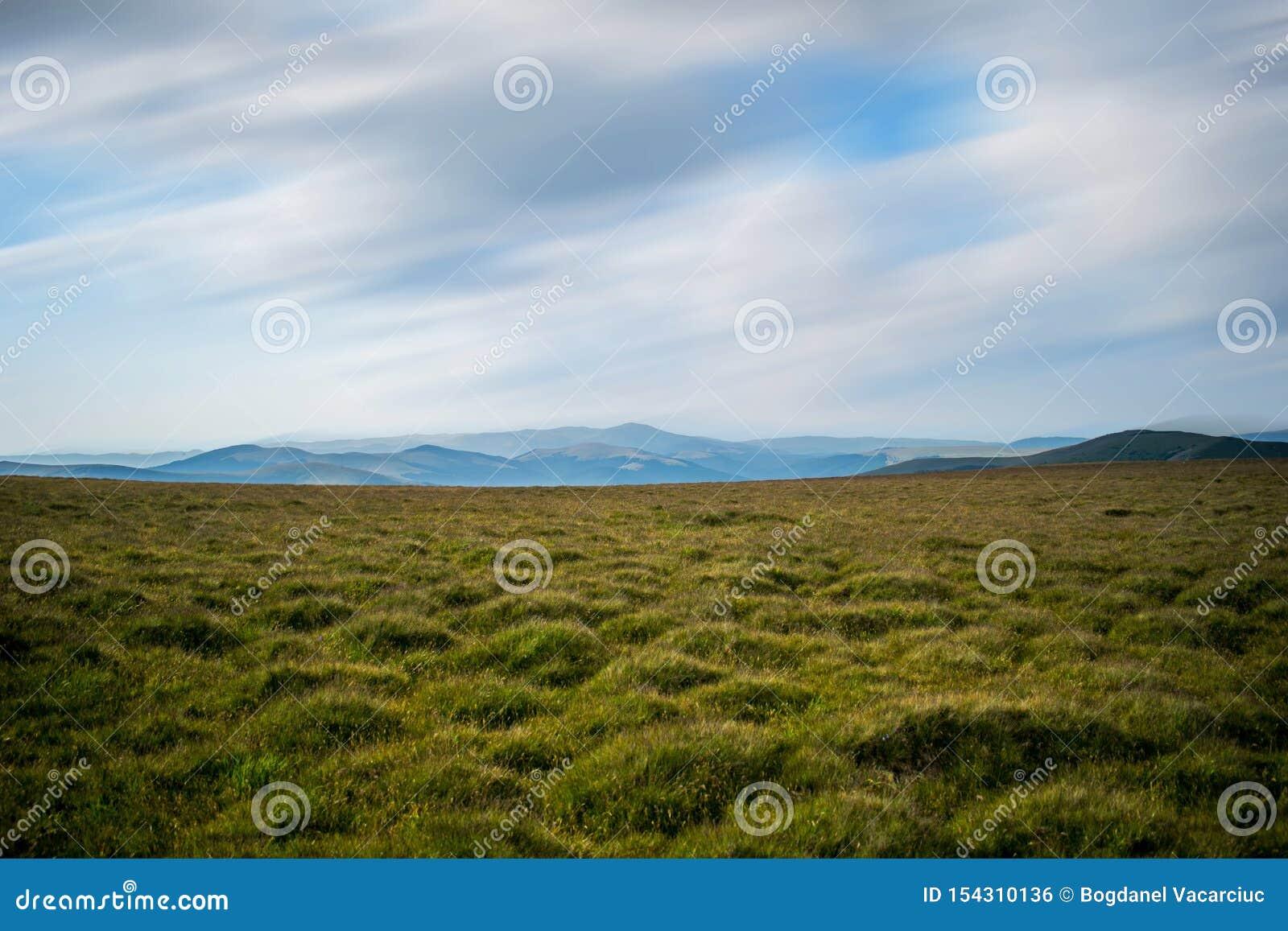 Πράσινο και κίτρινο καλυμμένο χλόη λιβάδι, σε μια περιοχή βουνών Τα βουνά μπορούν να δουν κάπου στην απόσταση