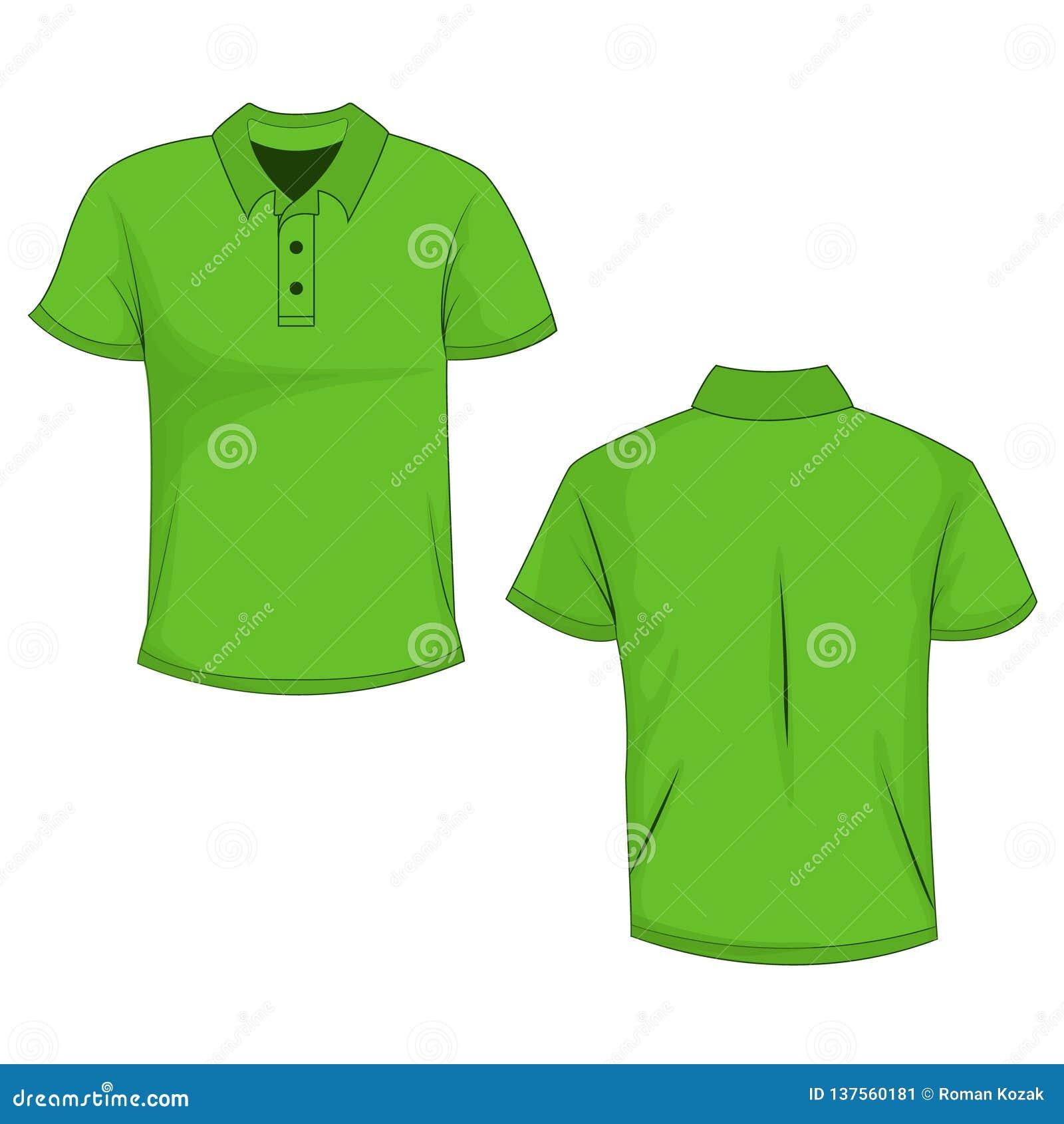 Πράσινο πόλο, χλεύη μπλουζών επάνω, μπροστινή και πίσω άποψη, που απομονώνεται στο άσπρο υπόβαθρο