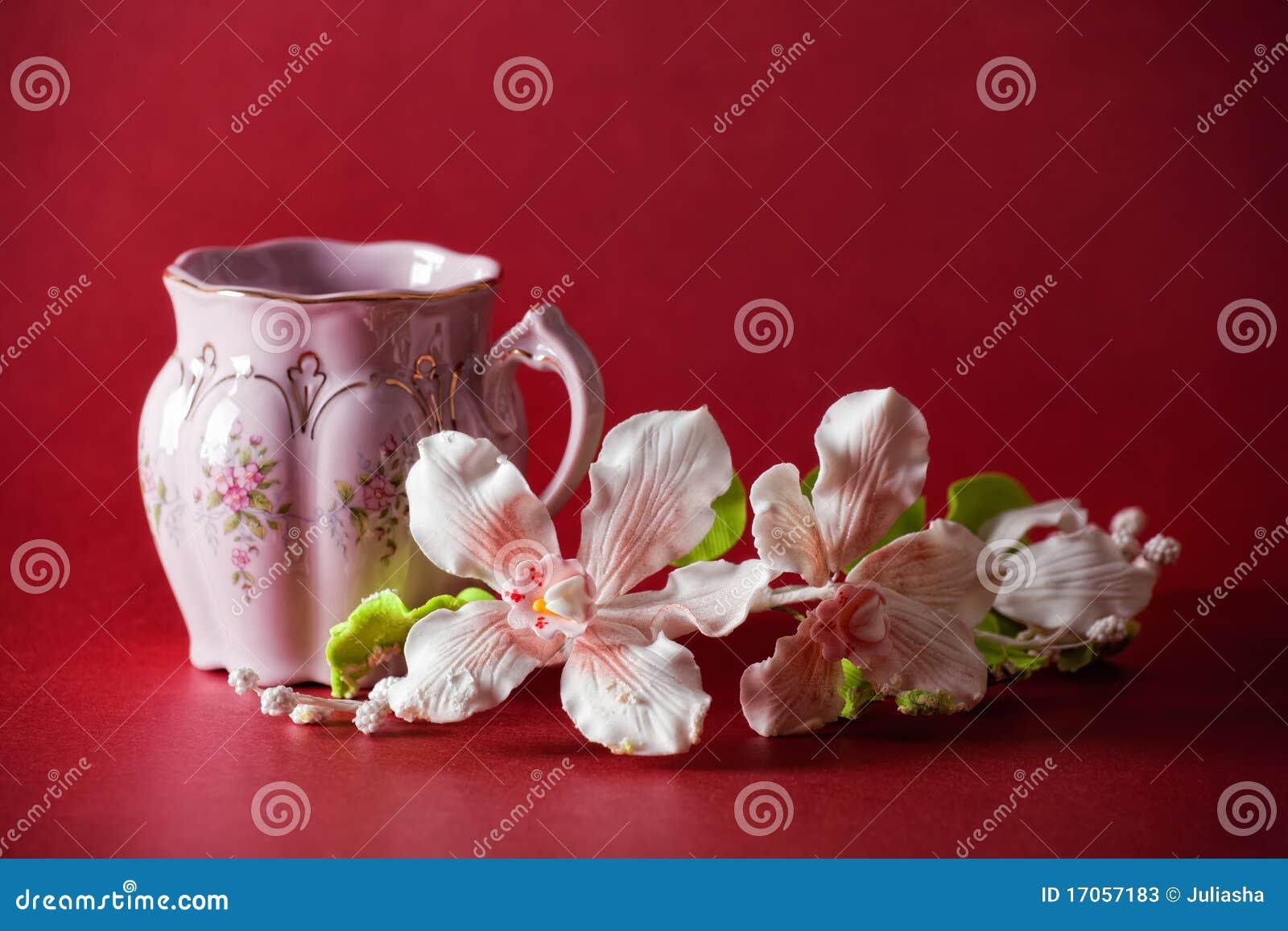 πράσινο ρόδινο τσάι φλυτζα