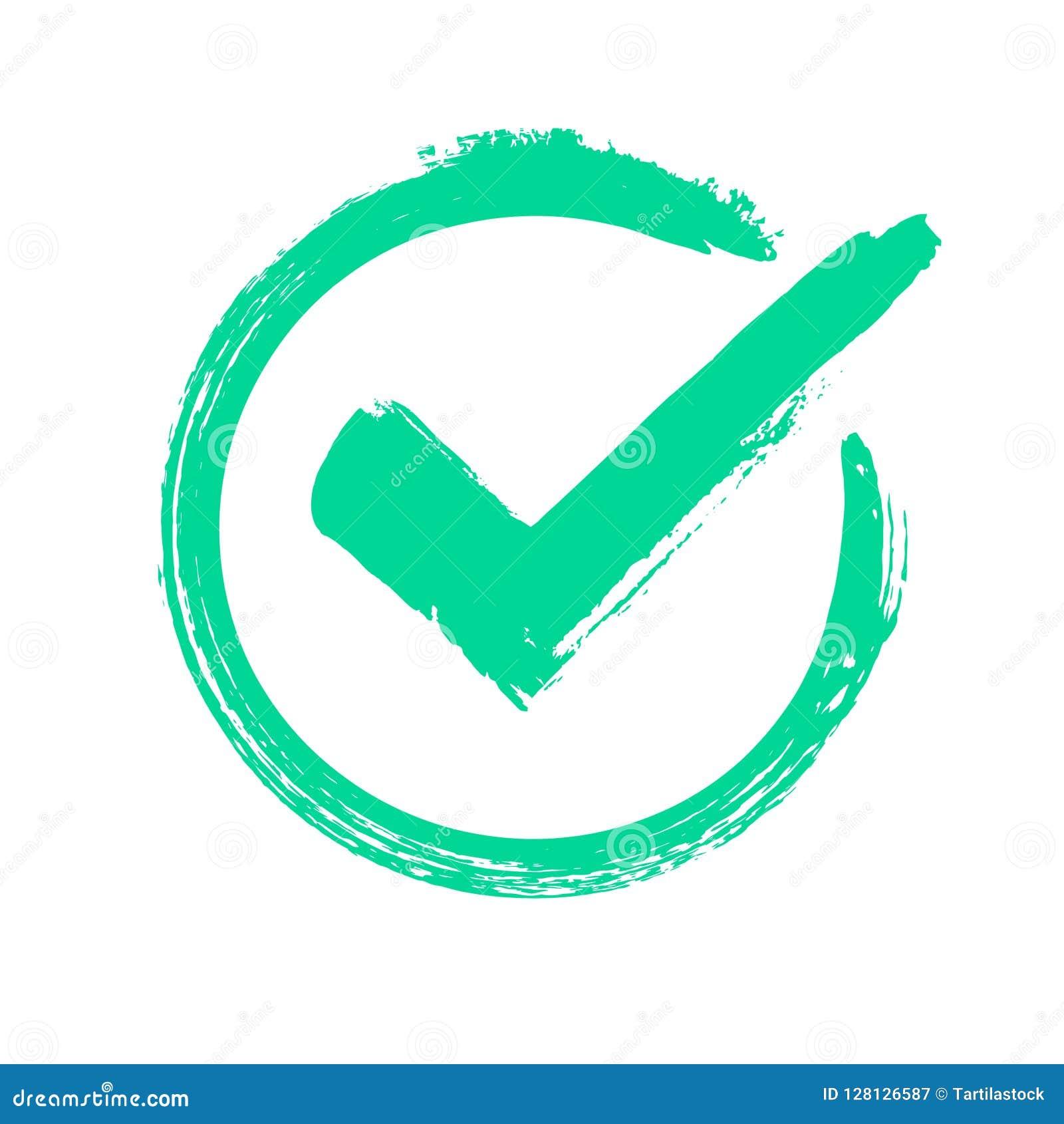 Πράσινο σημάδι ελέγχου grunge Σωστή απάντηση, ελέγχοντας το εικονίδιο έγκρισης ψηφοφορίας ή επιλογής Ελεγχμένο διανυσματικό σύμβο