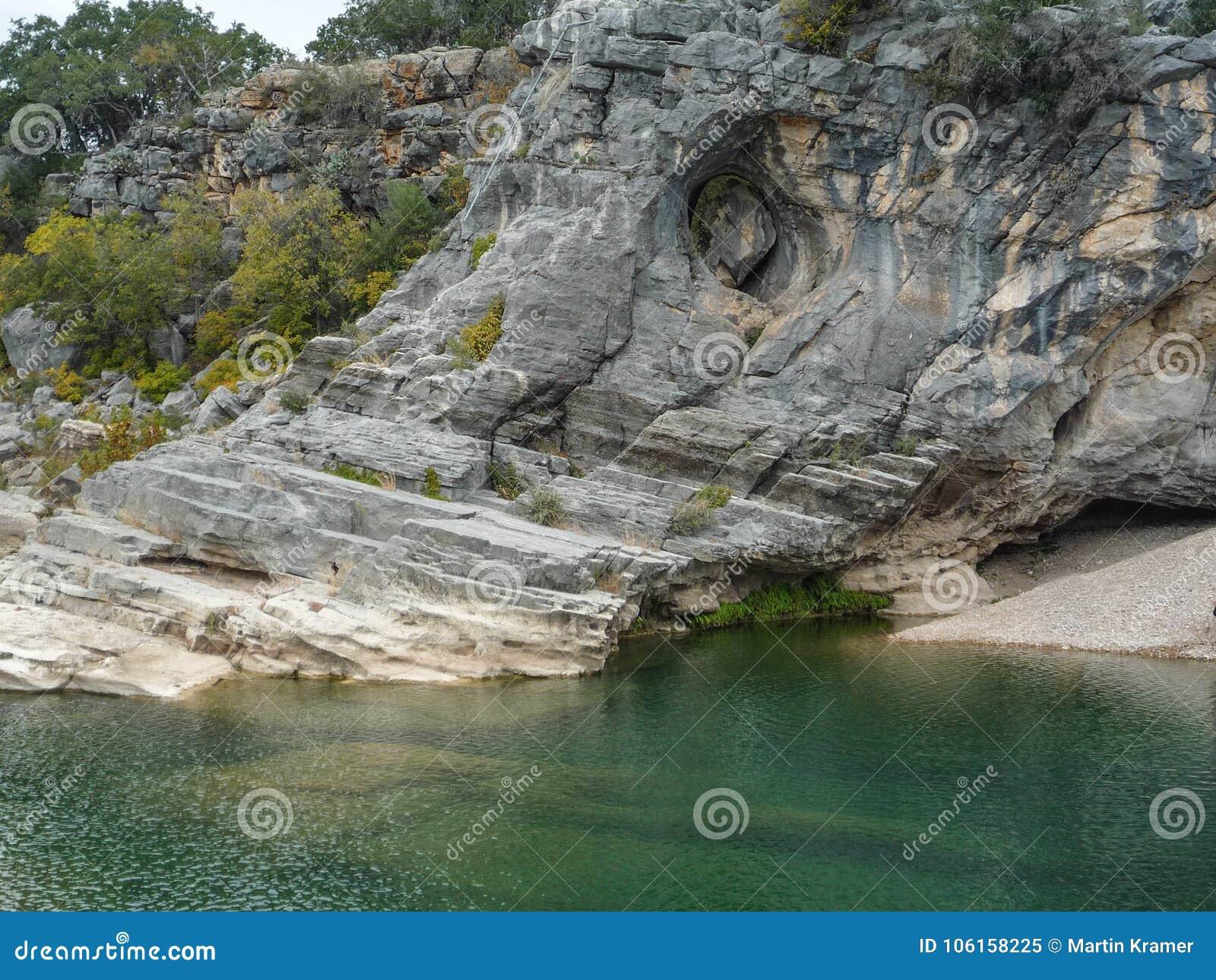 Πράσινο φυσικό νερό με τη δύσκολη παραλία απότομων βράχων και βράχου