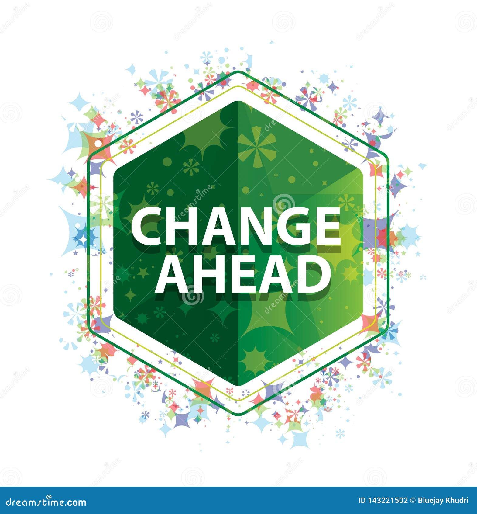 Πράσινο hexagon κουμπί σχεδίων εγκαταστάσεων αλλαγής μπροστά floral