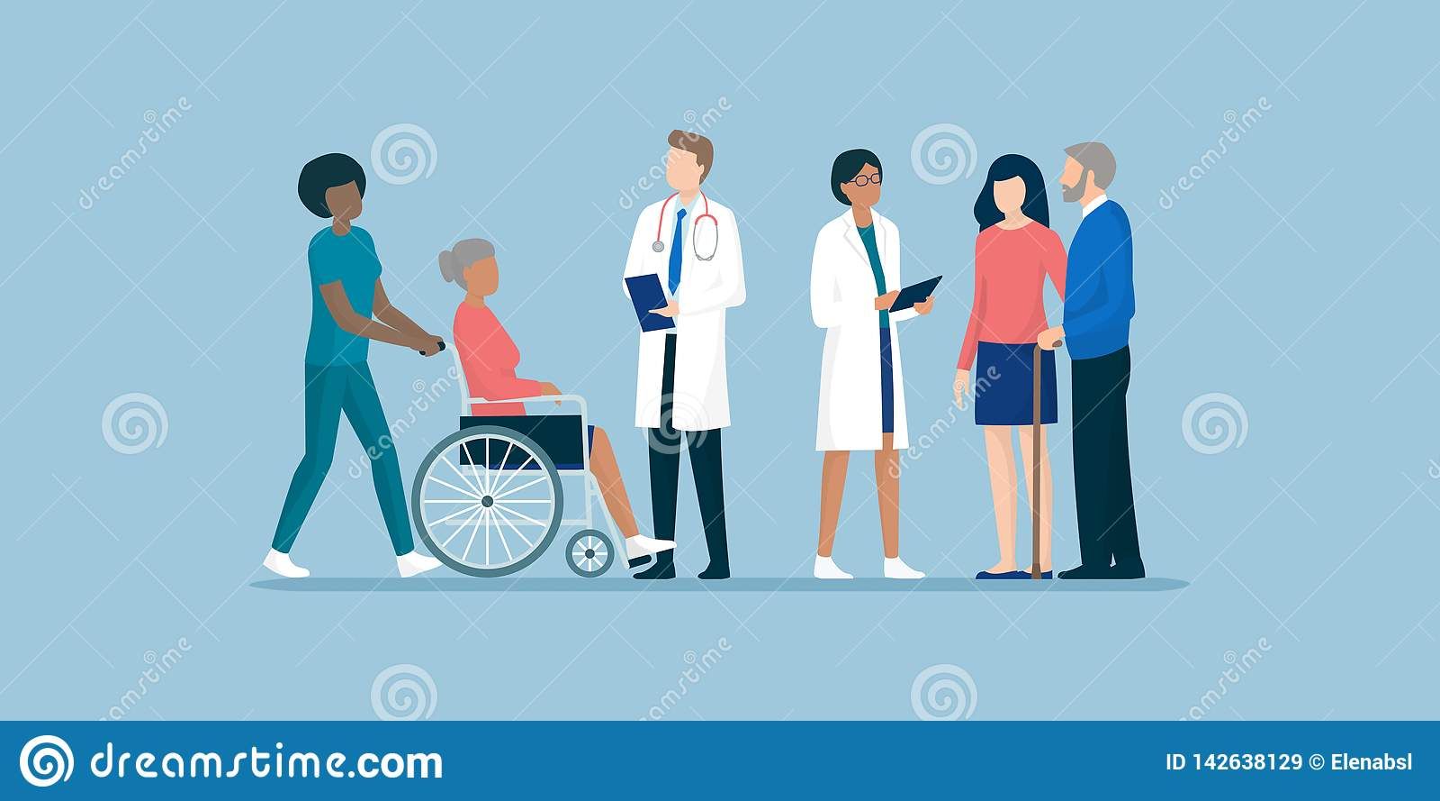 Πρεσβύτεροι με την ομάδα των επαγγελματικών caregivers και τους γιατρούς