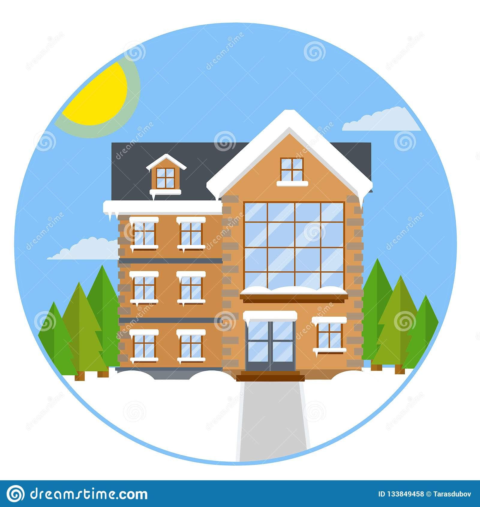 Προαστιακό σπίτι Επίπεδη απεικόνιση κινούμενων σχεδίων