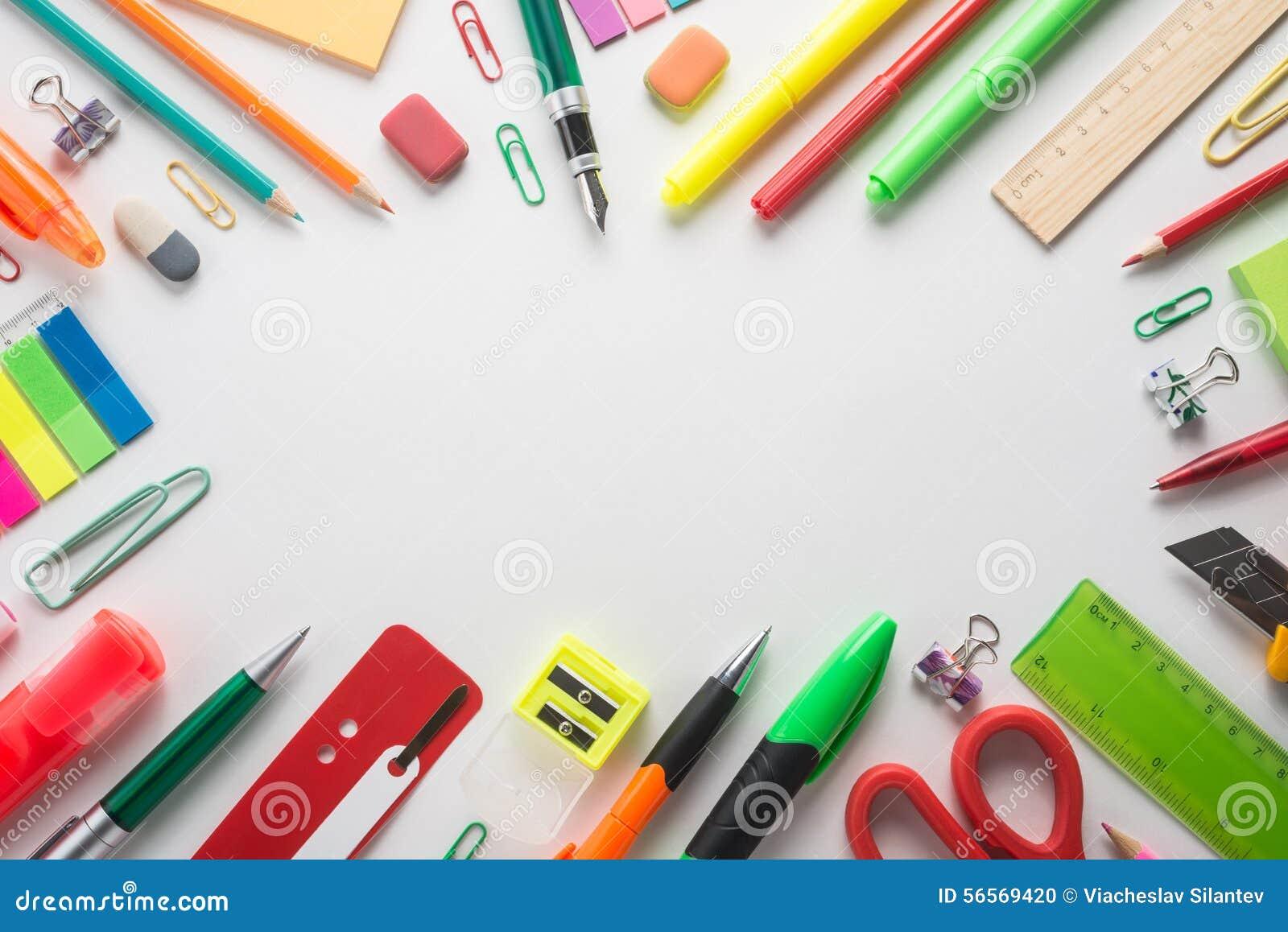 Download Προμήθειες σχολικών γραφείων Στοκ Εικόνες - εικόνα από εξοπλισμός, δημιουργικότητα: 56569420