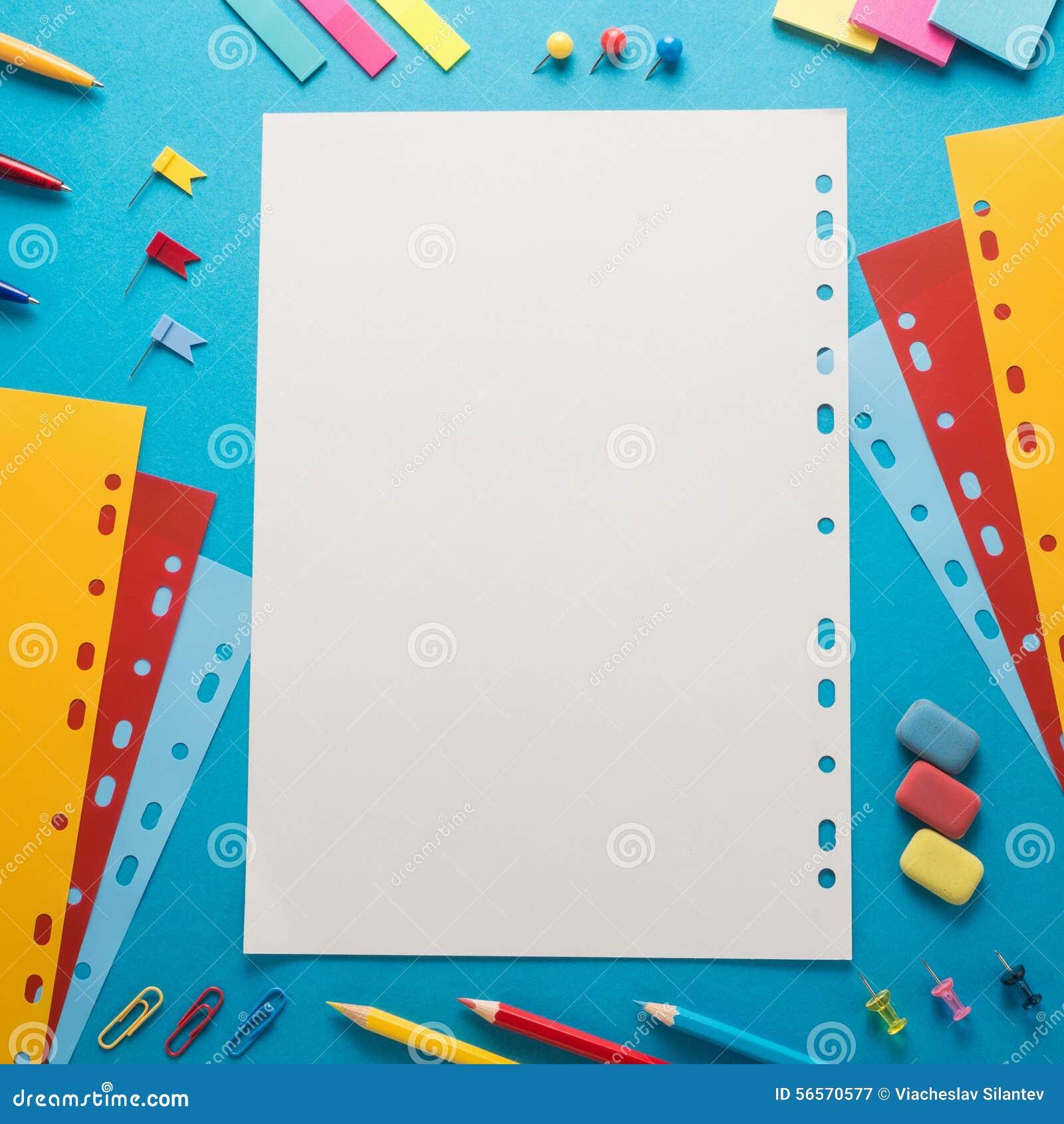 Download Προμήθειες σχολικών γραφείων Στοκ Εικόνα - εικόνα από ζωηρόχρωμος, σημείωση: 56570577