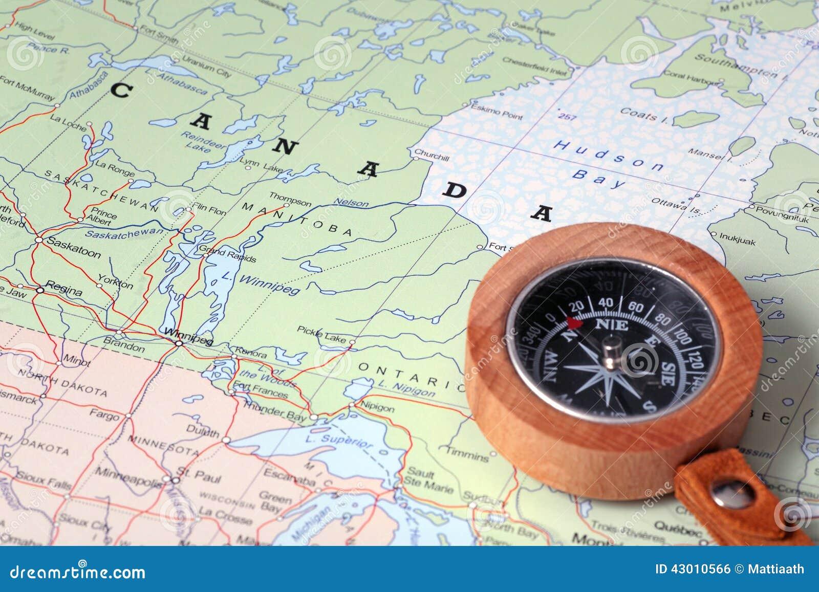 Προορισμός Καναδάς, χάρτης ταξιδιού με την πυξίδα